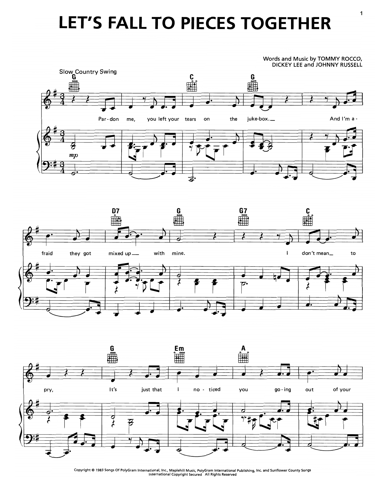 Let's Fall To Pieces Together Sheet Music