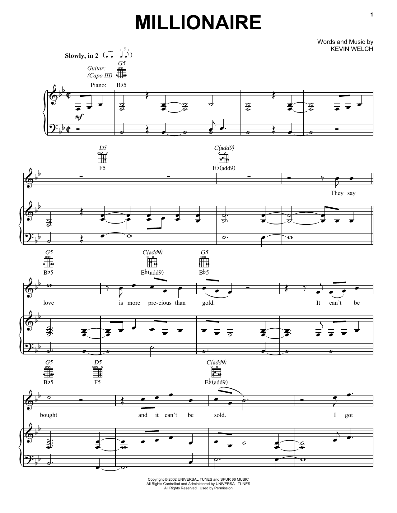 Millionaire (Piano, Vocal & Guitar (Right-Hand Melody))
