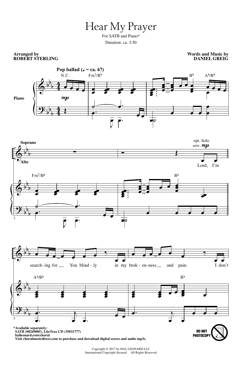 Partition chorale Hear My Prayer de Robert Sterling - SATB