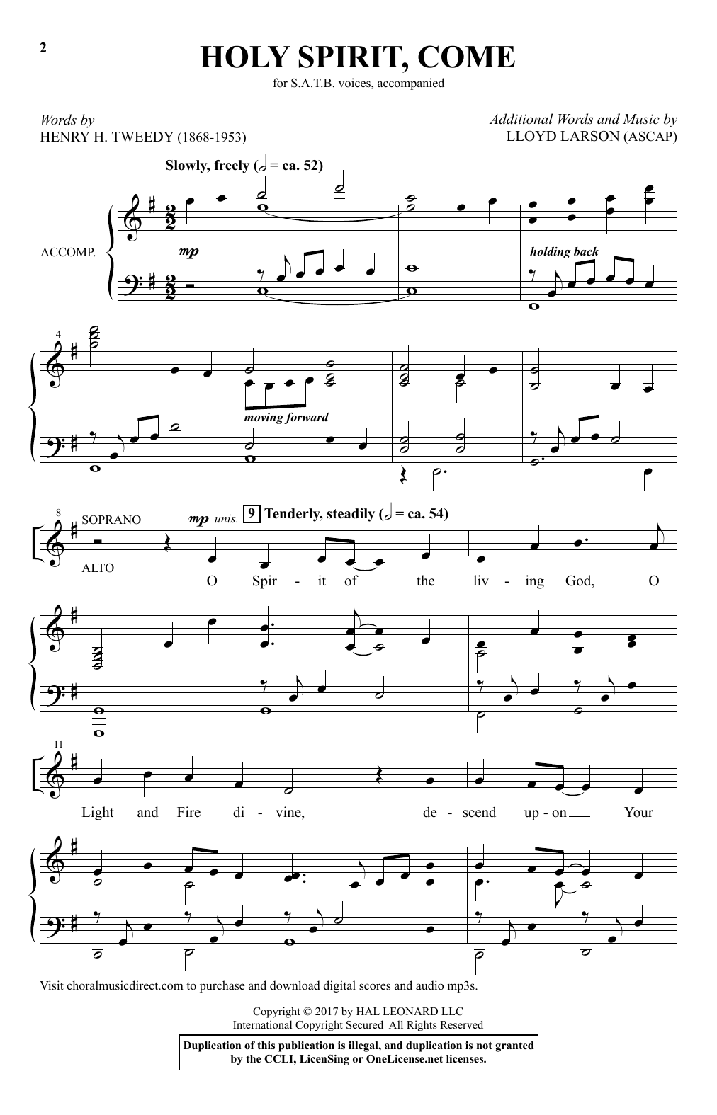 Holy Spirit, Come Sheet Music