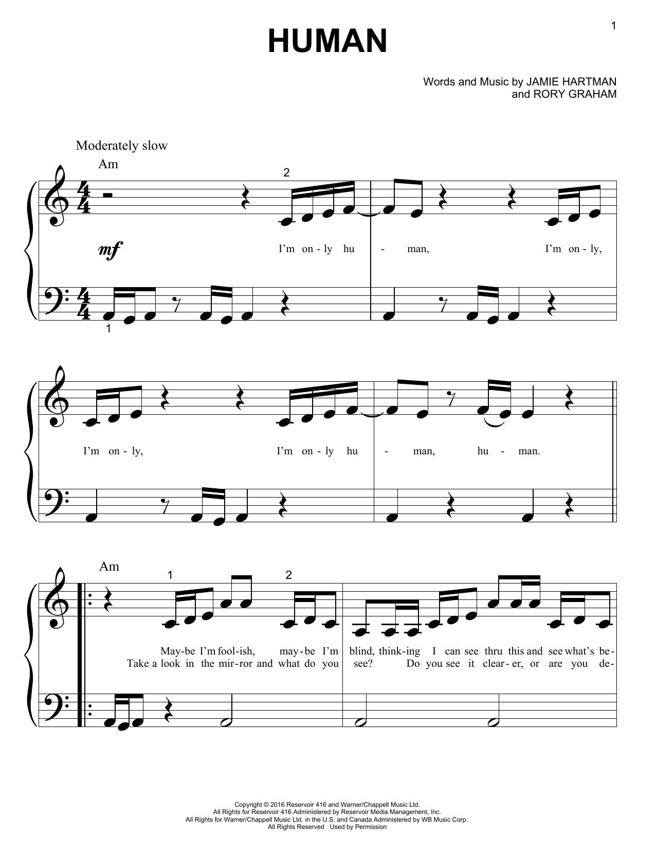 Human (Big Note Piano)
