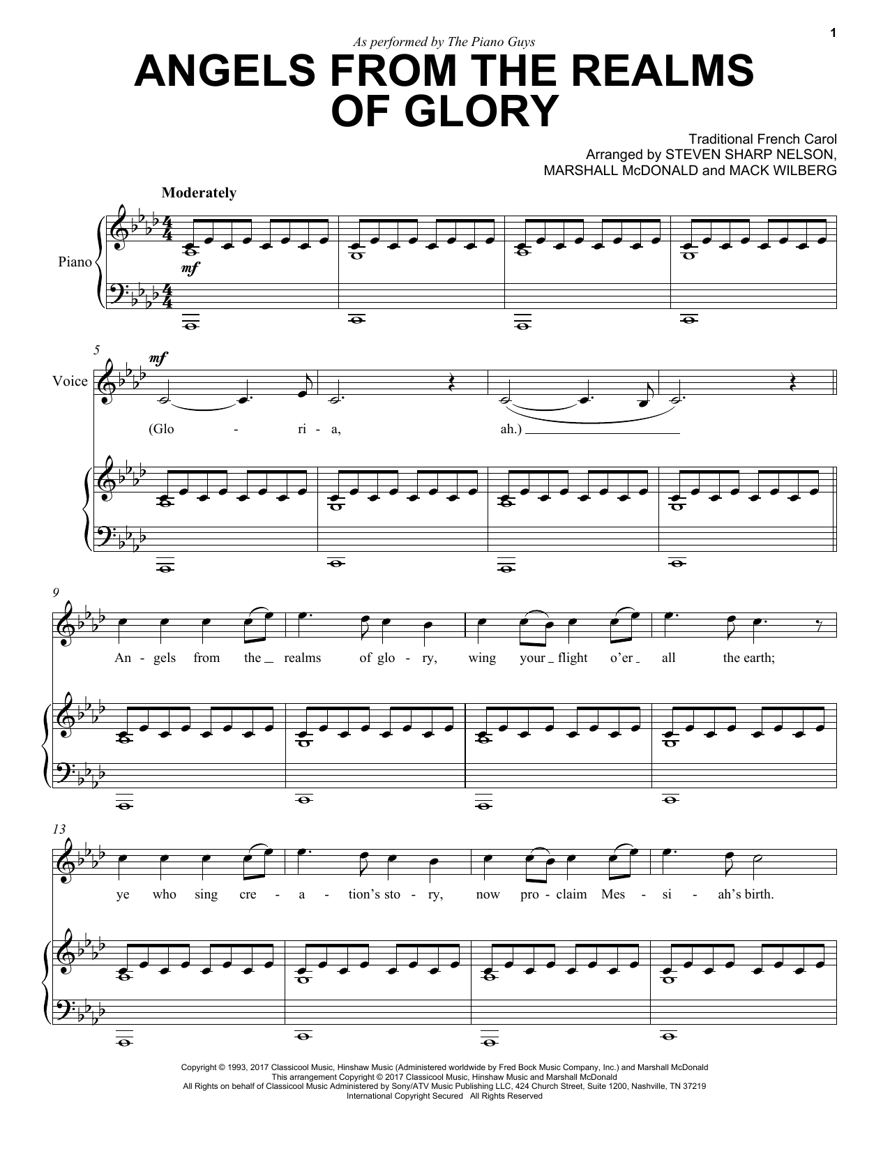 Angels From The Realms Of Glory by The Piano Guys Cello and Piano Digital  Sheet Music