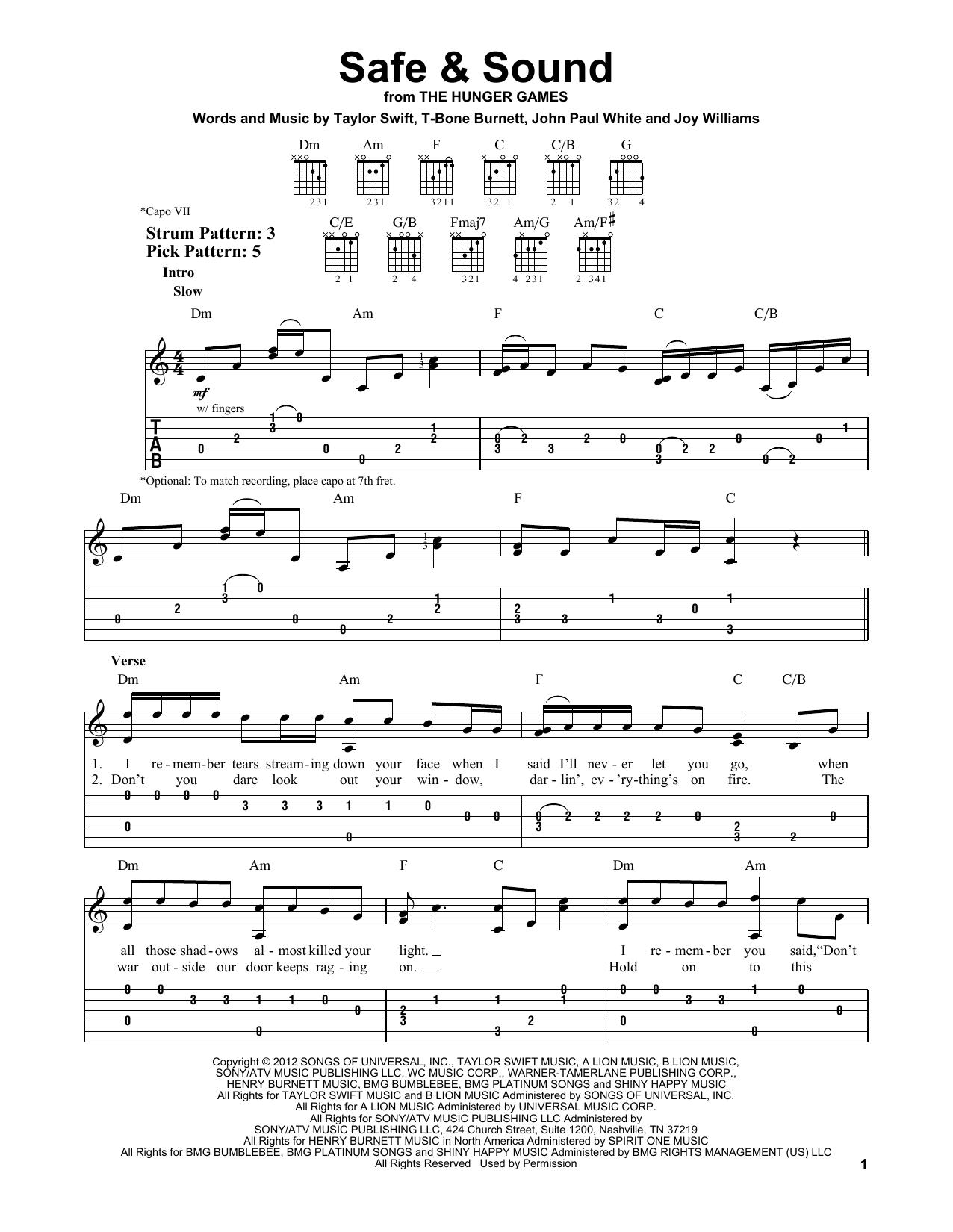 Safe & Sound (feat. The Civil Wars) Sheet Music