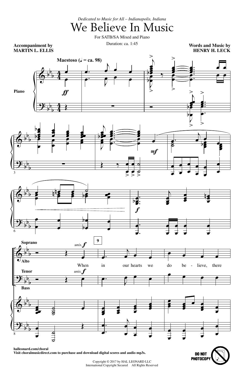 We Believe In Music Sheet Music