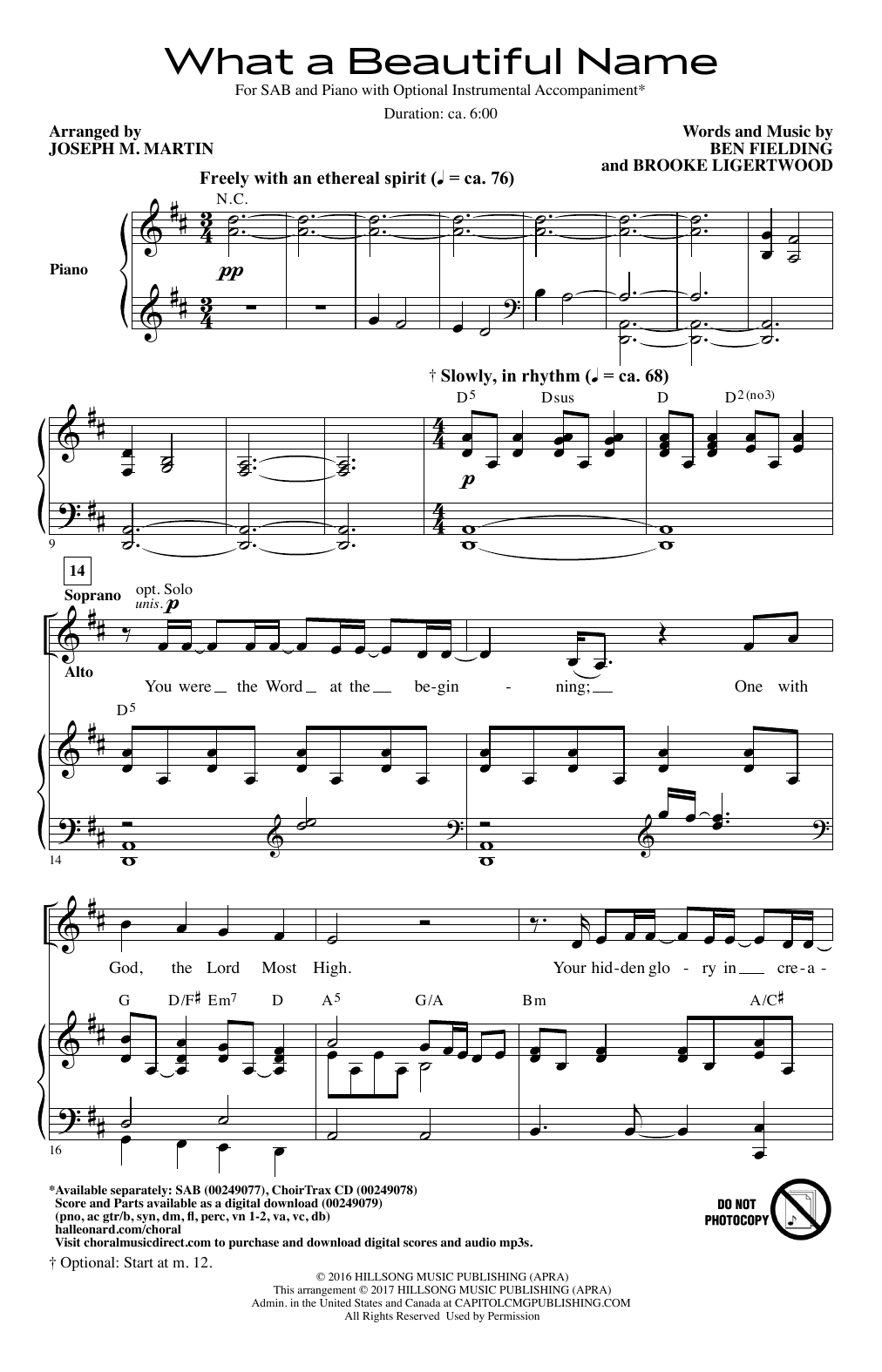 What A Beautiful Name Sheet Music