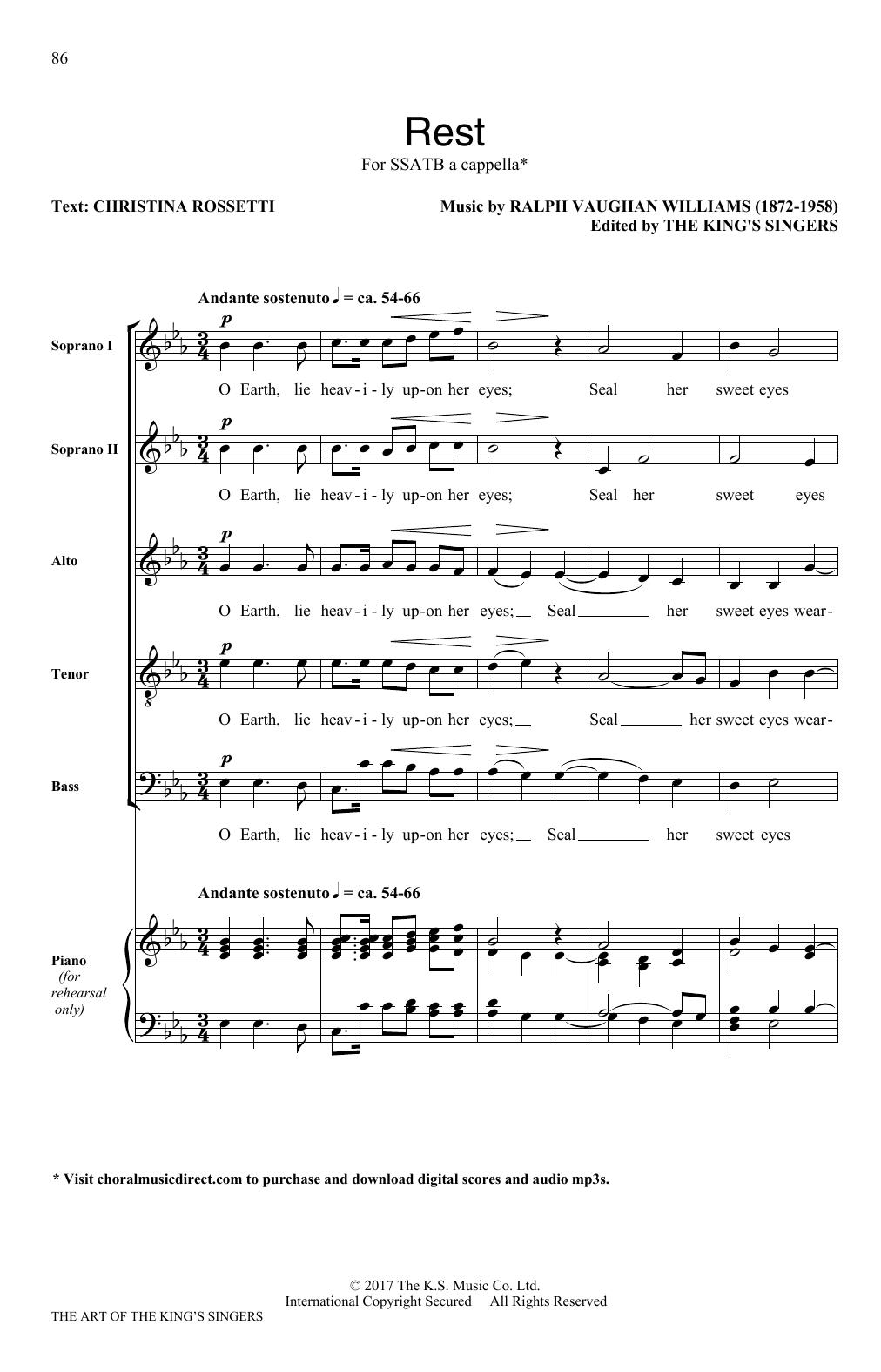 Partition chorale Rest de Ralph Vaughan Williams - SATB