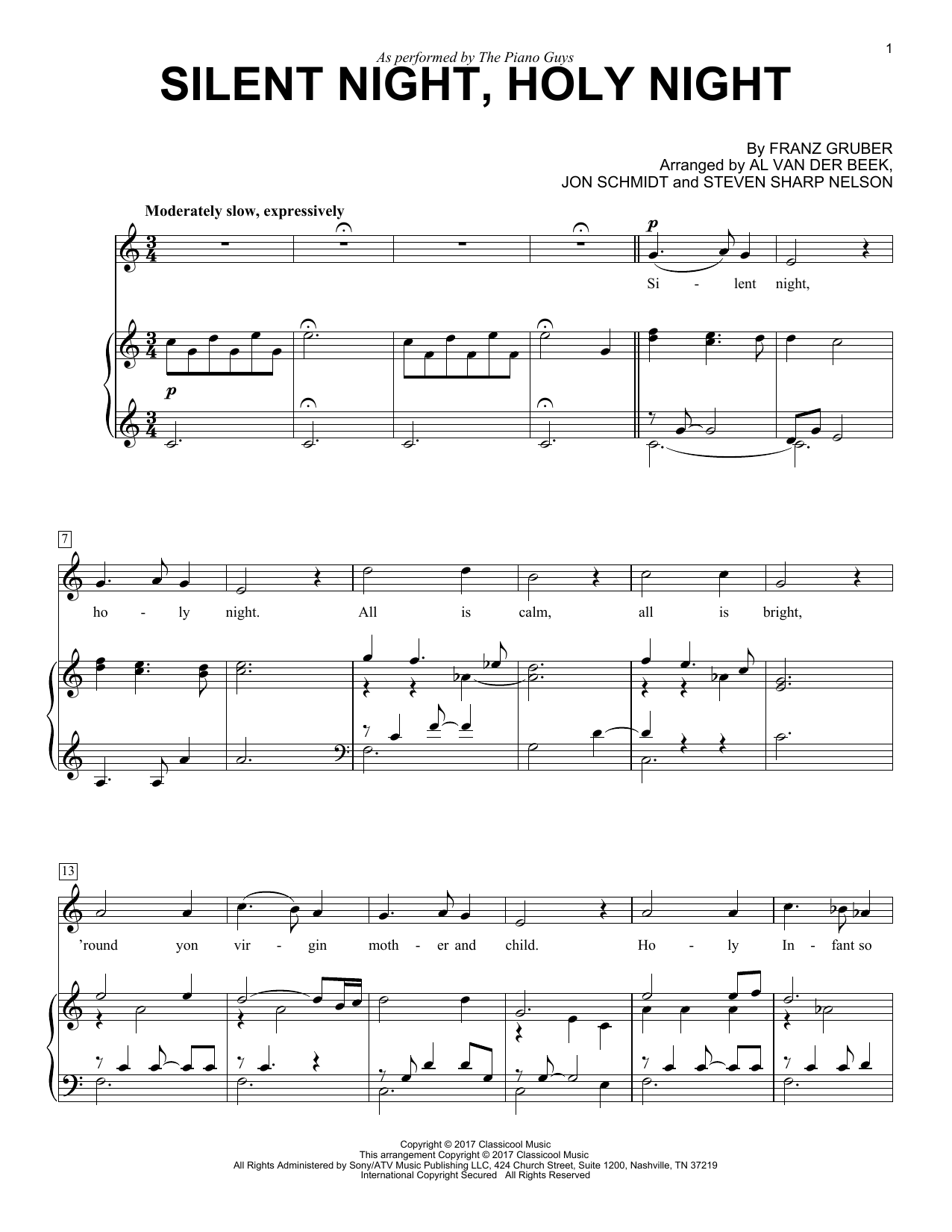 Silent Night, Holy Night (Piano & Vocal)