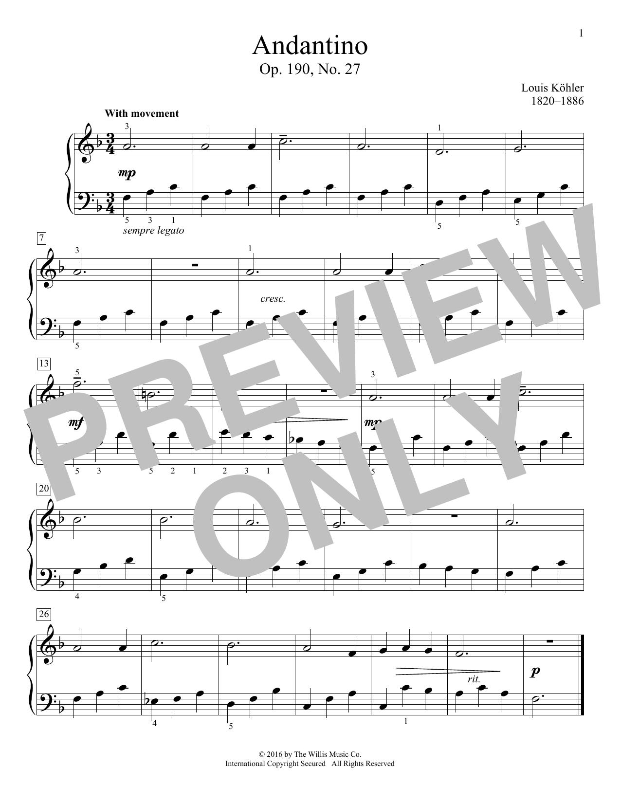 Andantino, Op. 190, No. 27 Sheet Music