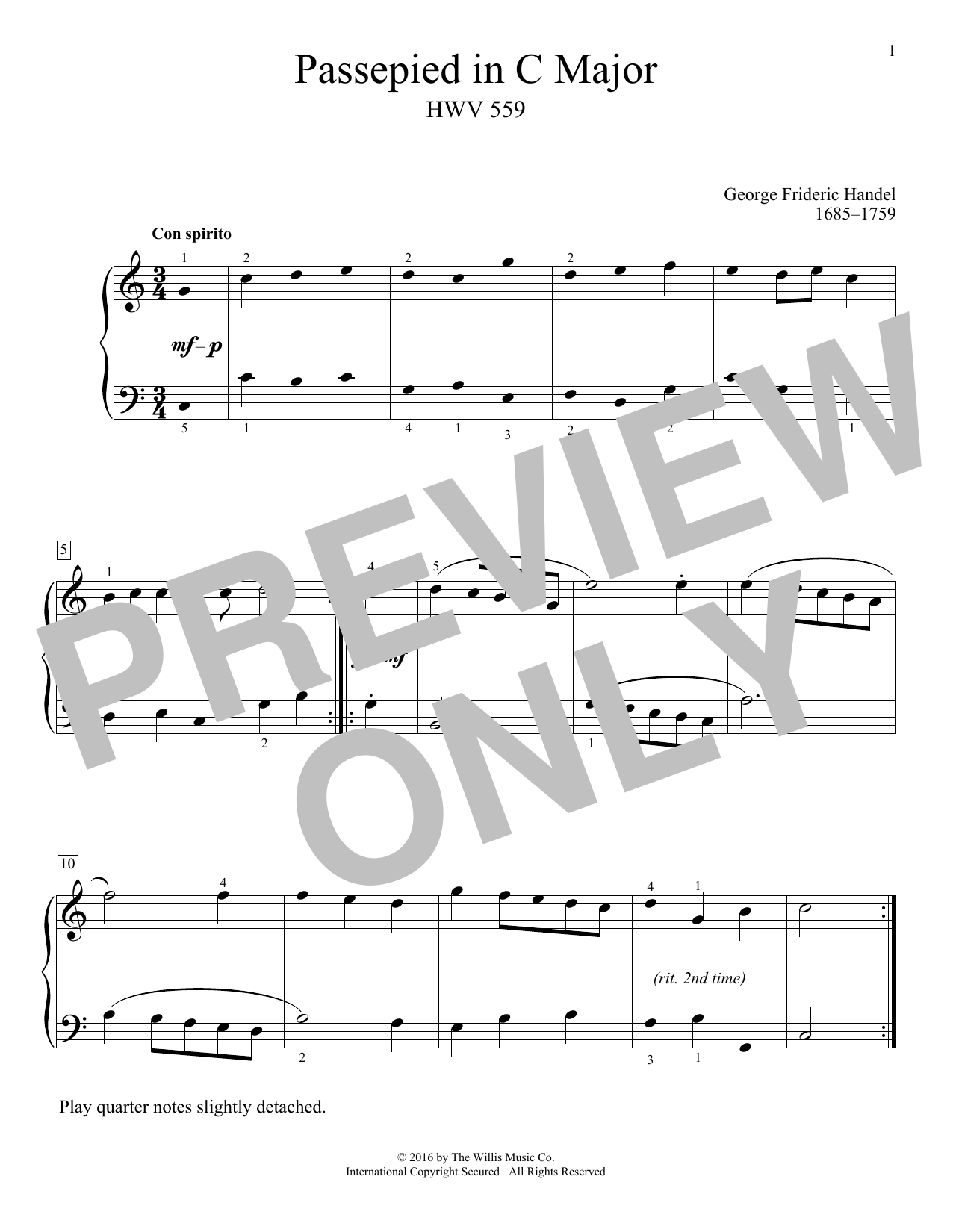 Passepied In C Major, HWV 559 Sheet Music