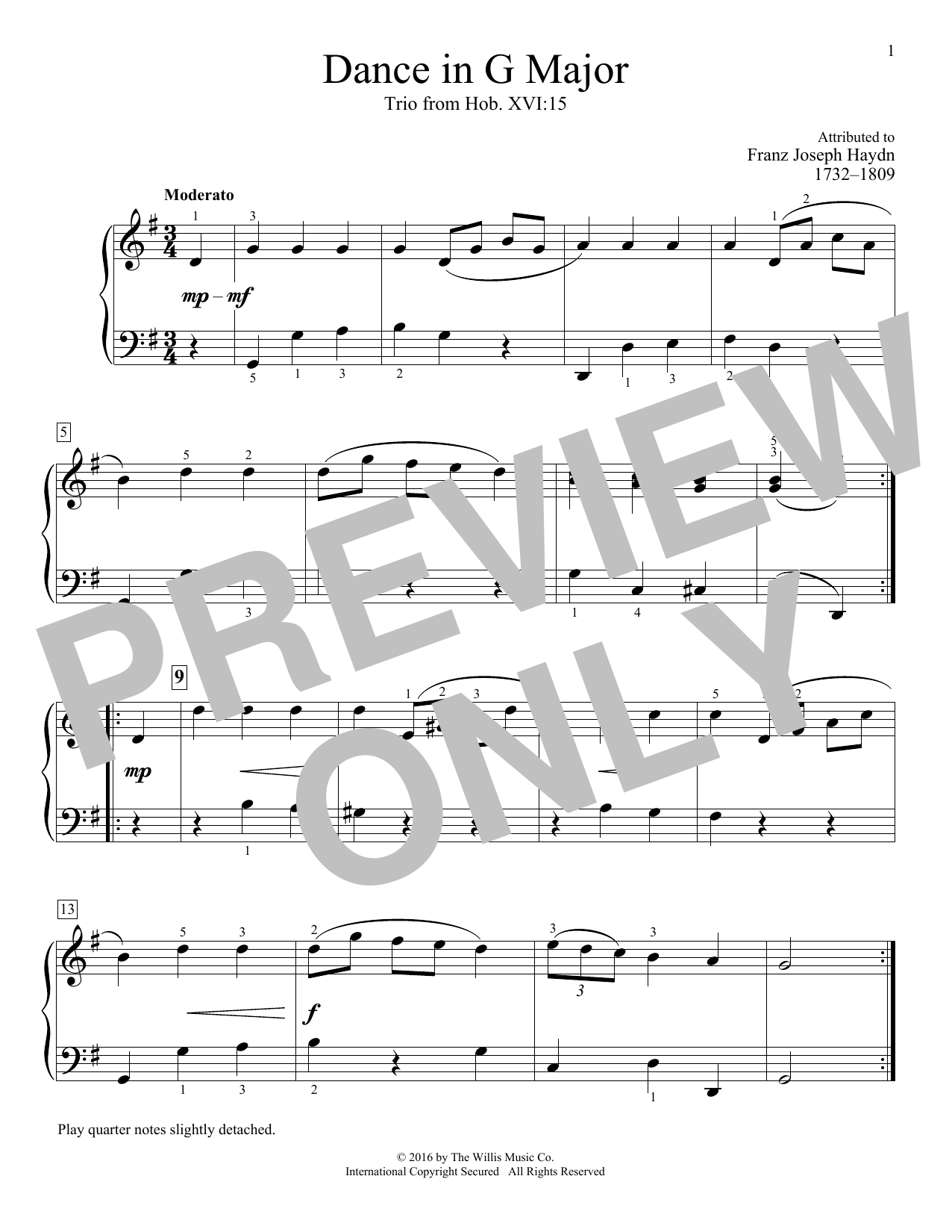 Dance In G Major, Trio from Hob. XVI:15 Sheet Music