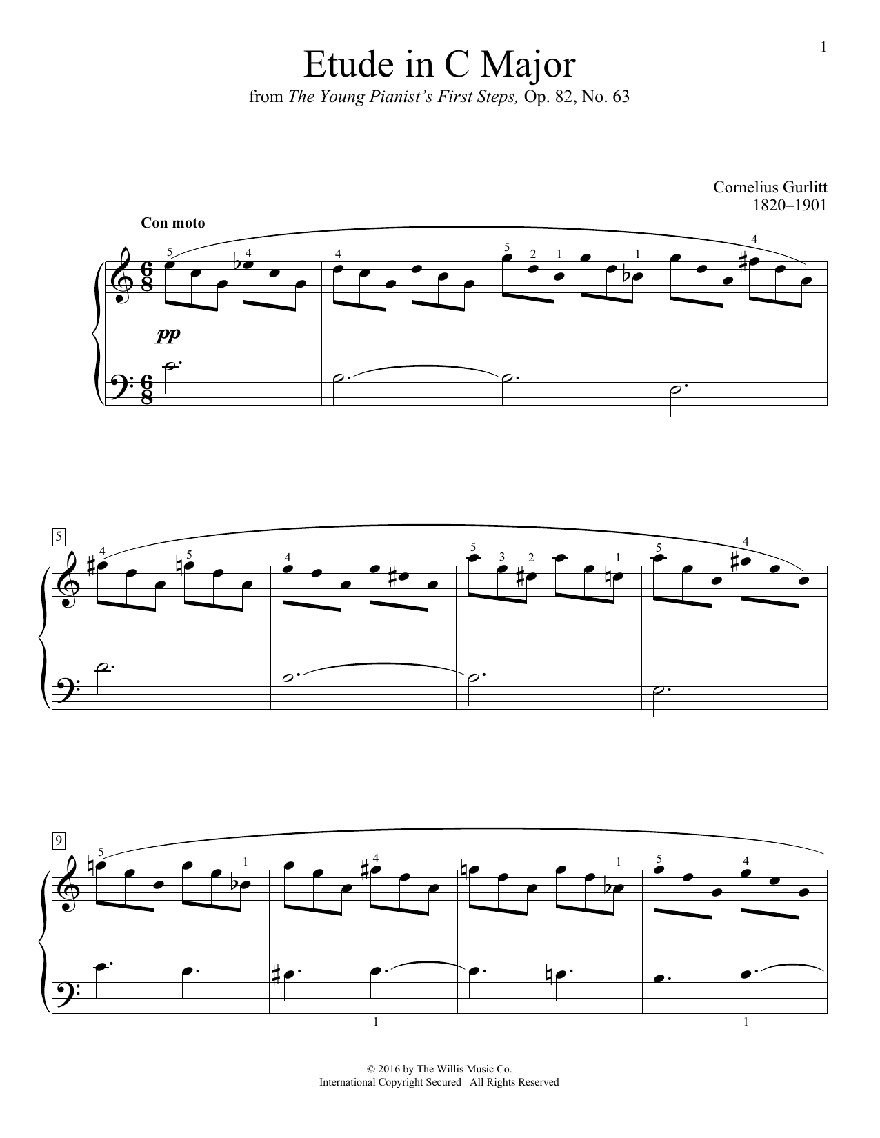 Etude In C Major Sheet Music