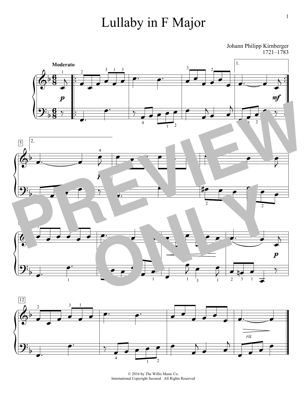 Lullaby In F Major Sheet Music