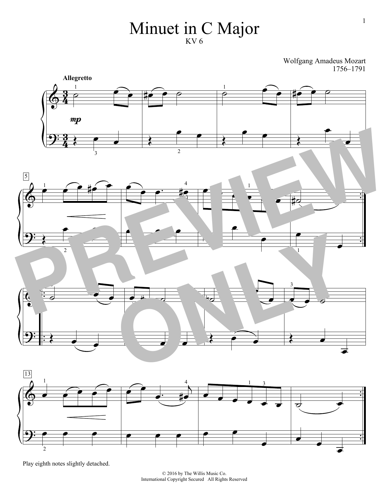 Minuet In C Major, KV 6 Sheet Music