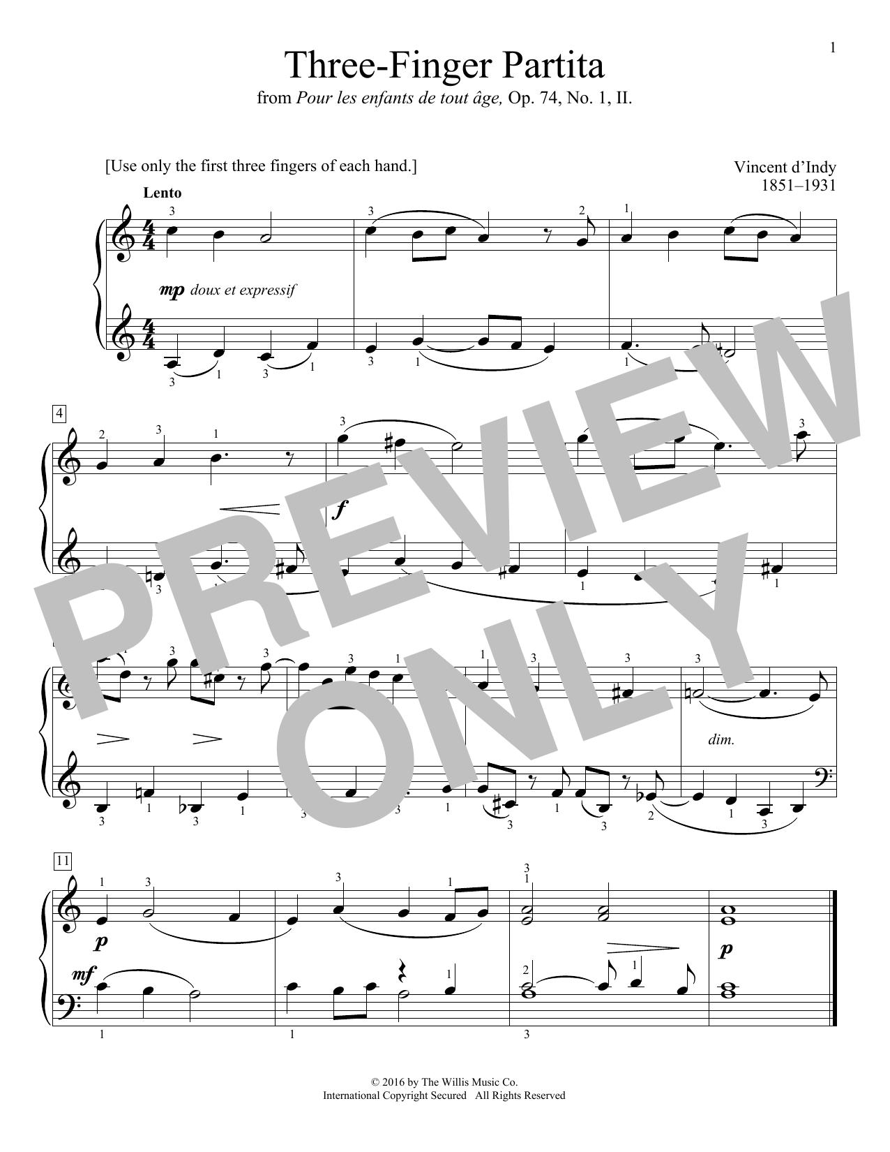 Three-Finger Partita (Educational Piano)