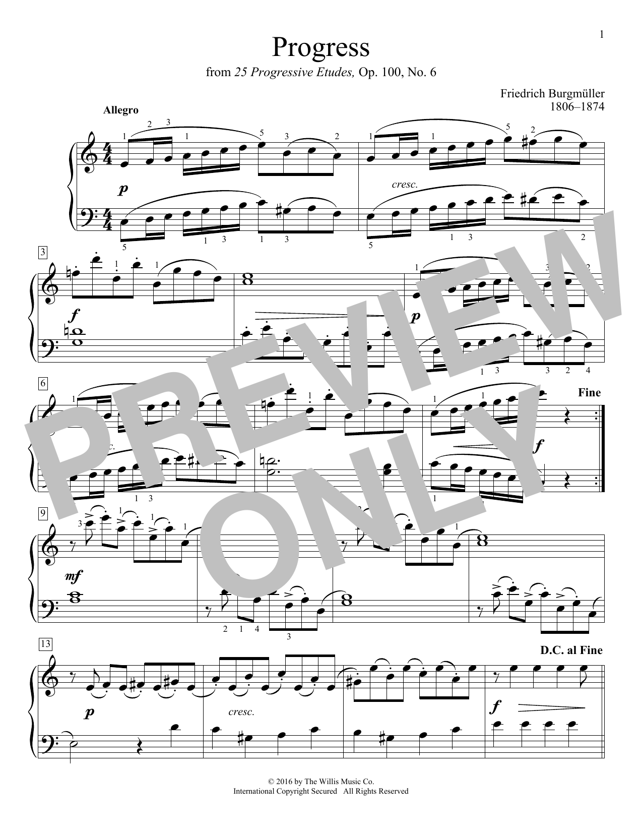 Progress Sheet Music