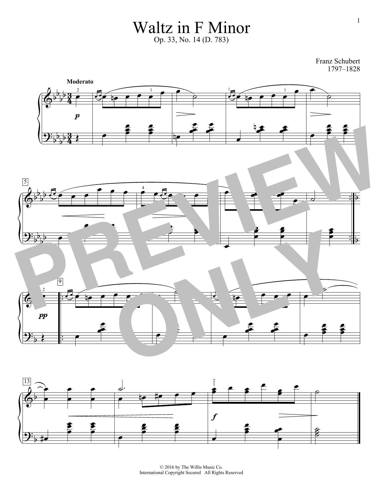 Waltz In F Minor, Op. 33, No. 14 (D. 783) Sheet Music