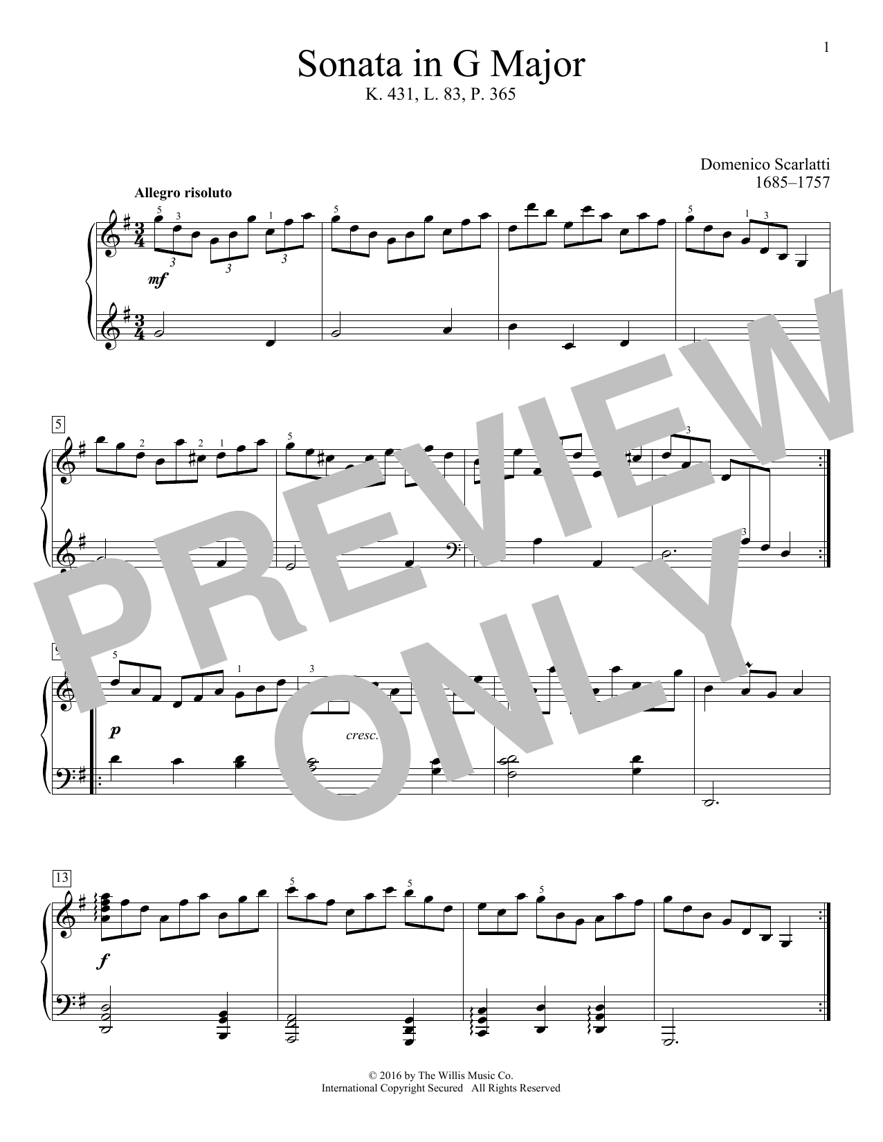 Sonata In G Major, K. 431, L. 83, P. 365 Sheet Music