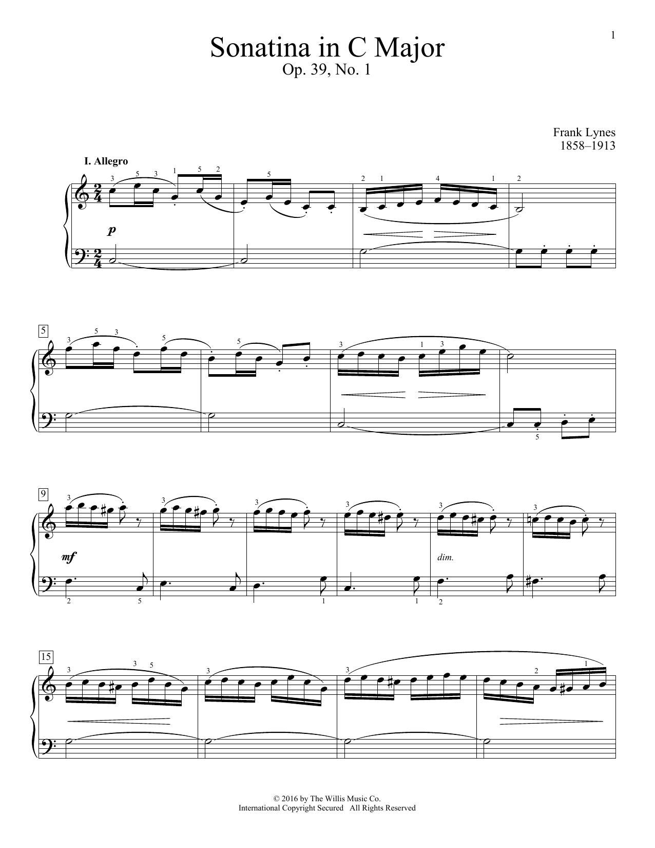 Sonatina In C Major, Op. 39, No. 1 Sheet Music