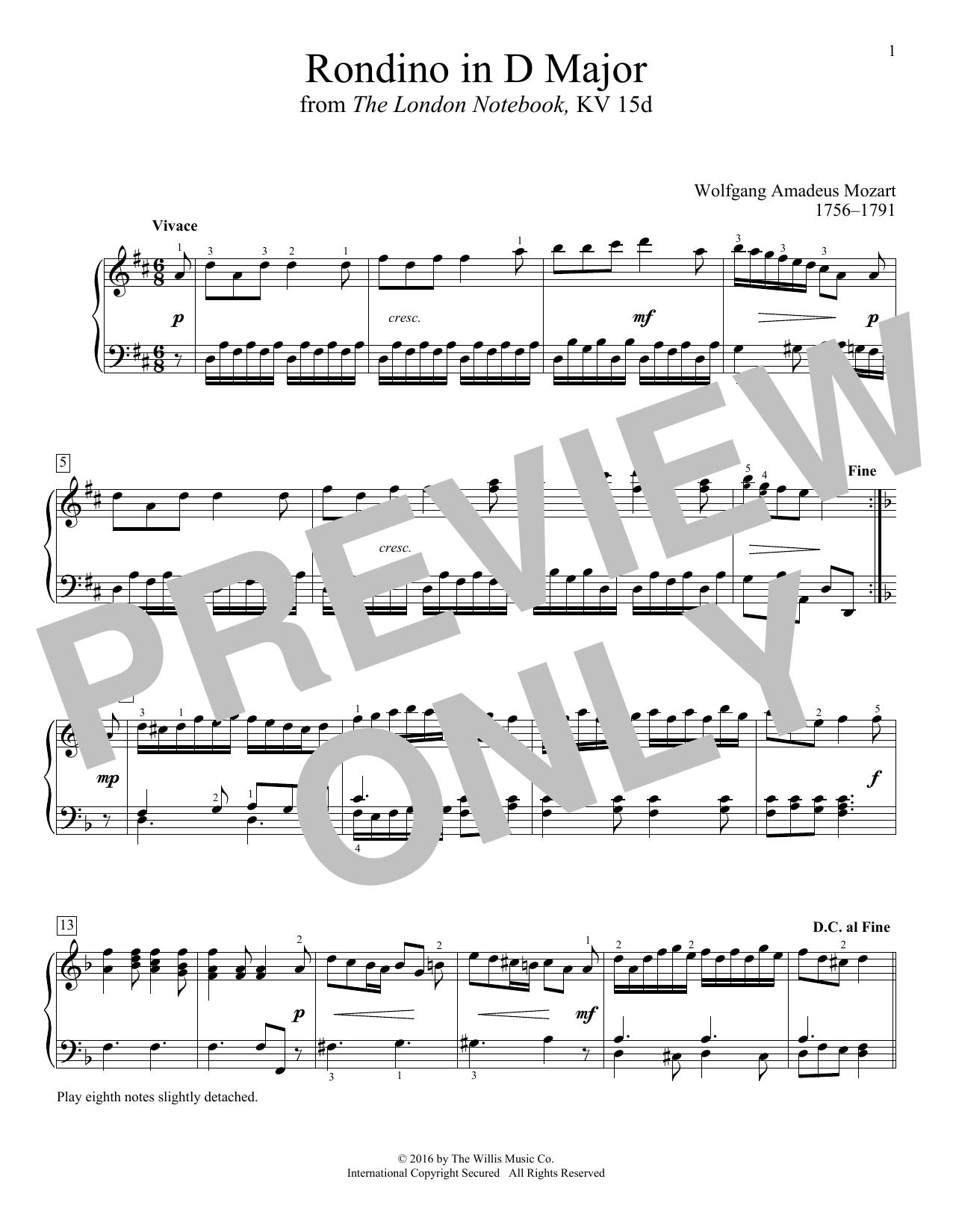 Rondino In D Major Sheet Music