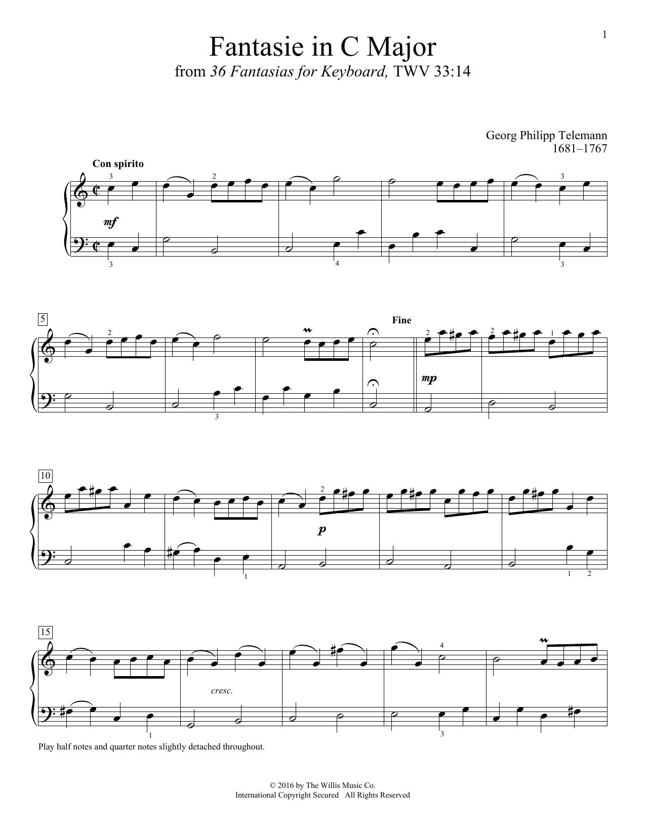 Fantasie In C Major Sheet Music