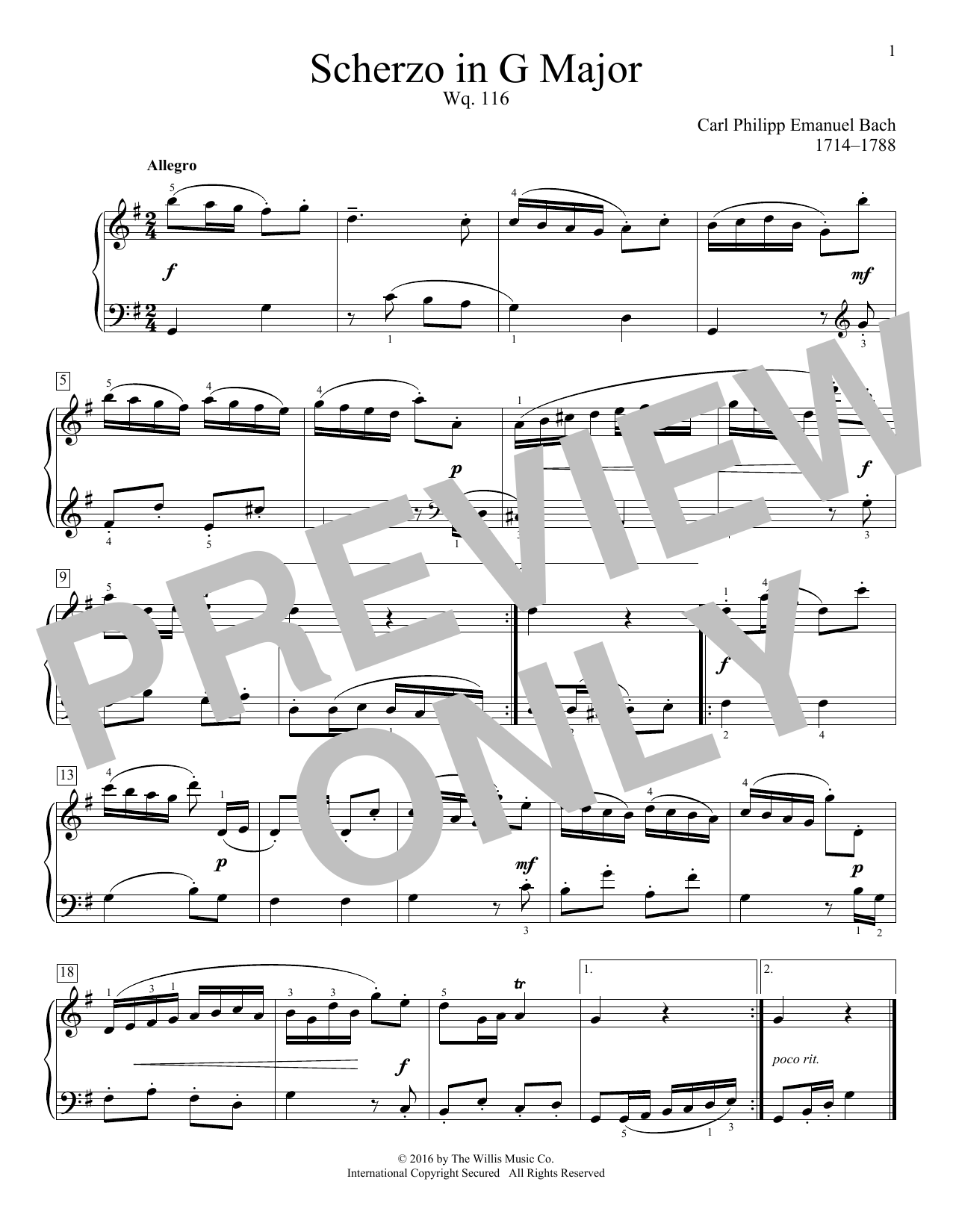 Scherzo In G Major, Wq. 116 Sheet Music