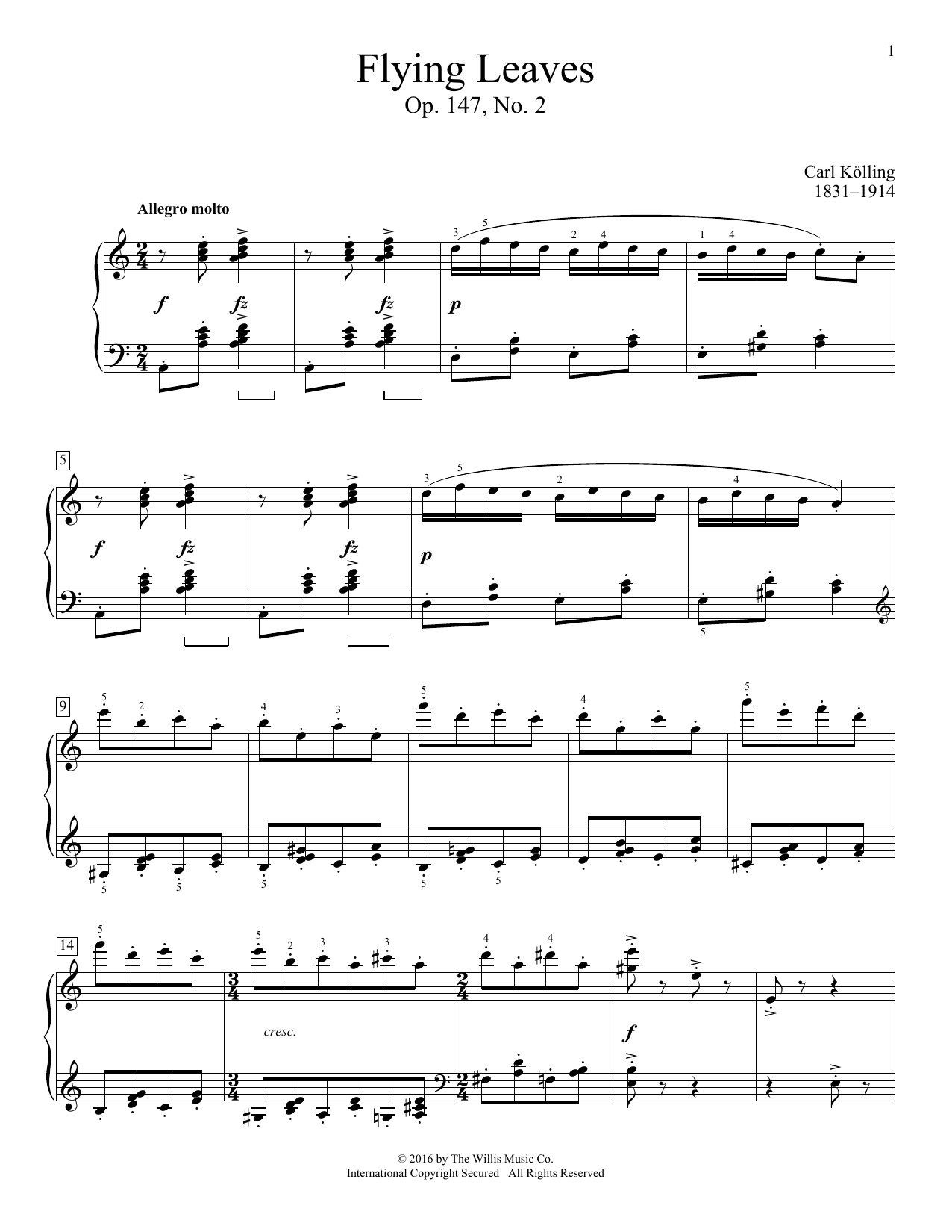 Flying Leaves, Op. 147, No. 2 Sheet Music