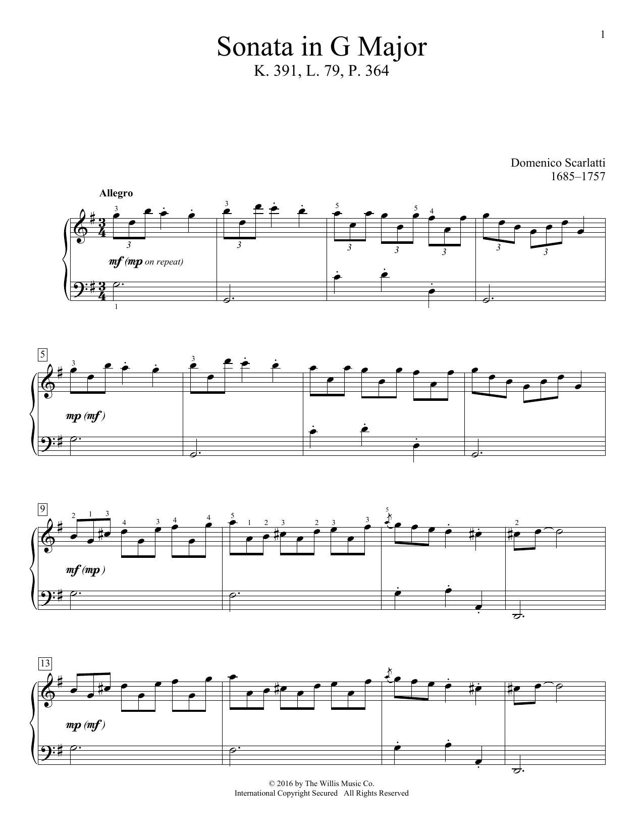 Sonata In G Major, K. 391, L. 79, P. 364 Sheet Music