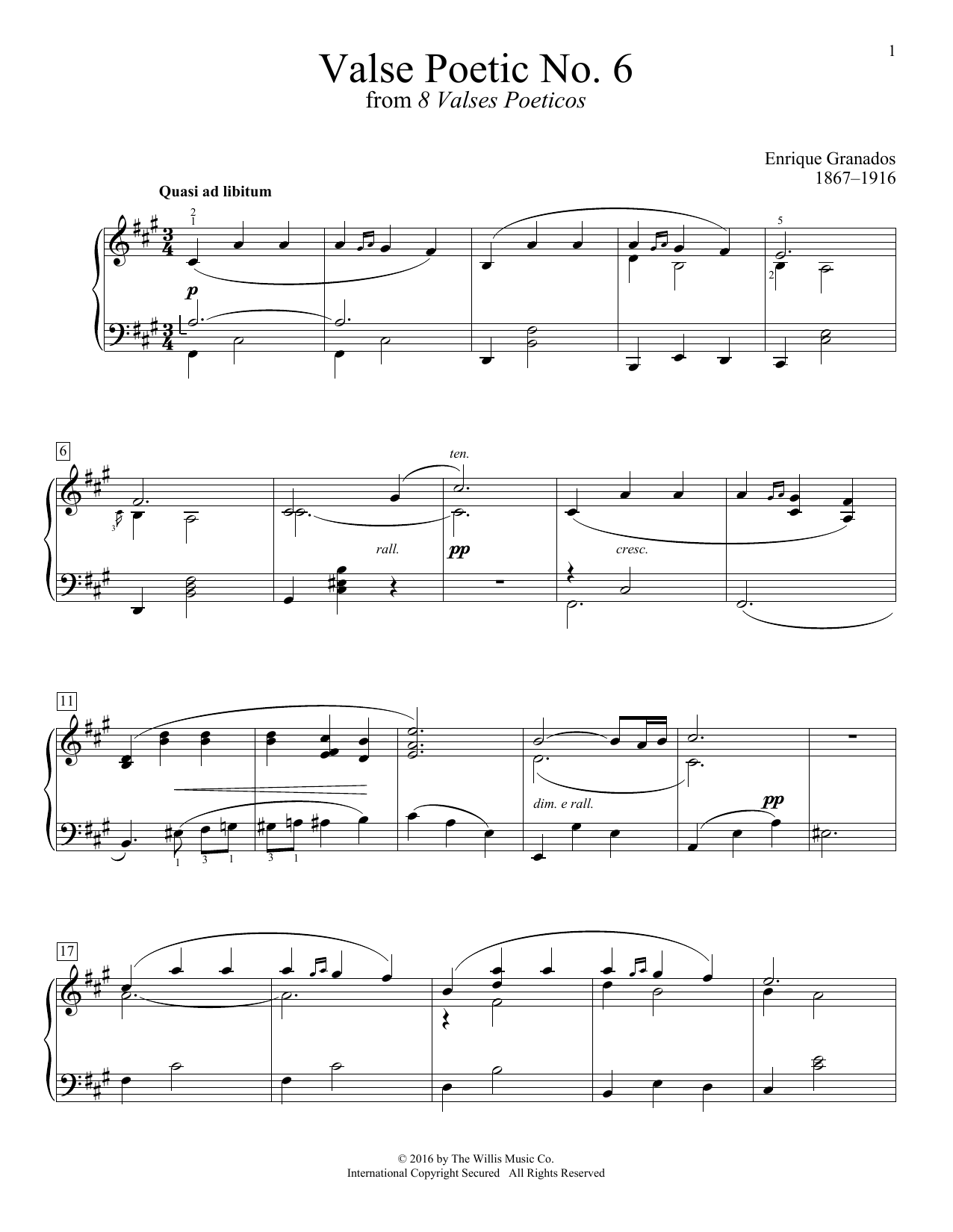 Valse Poetic No. 6 Sheet Music