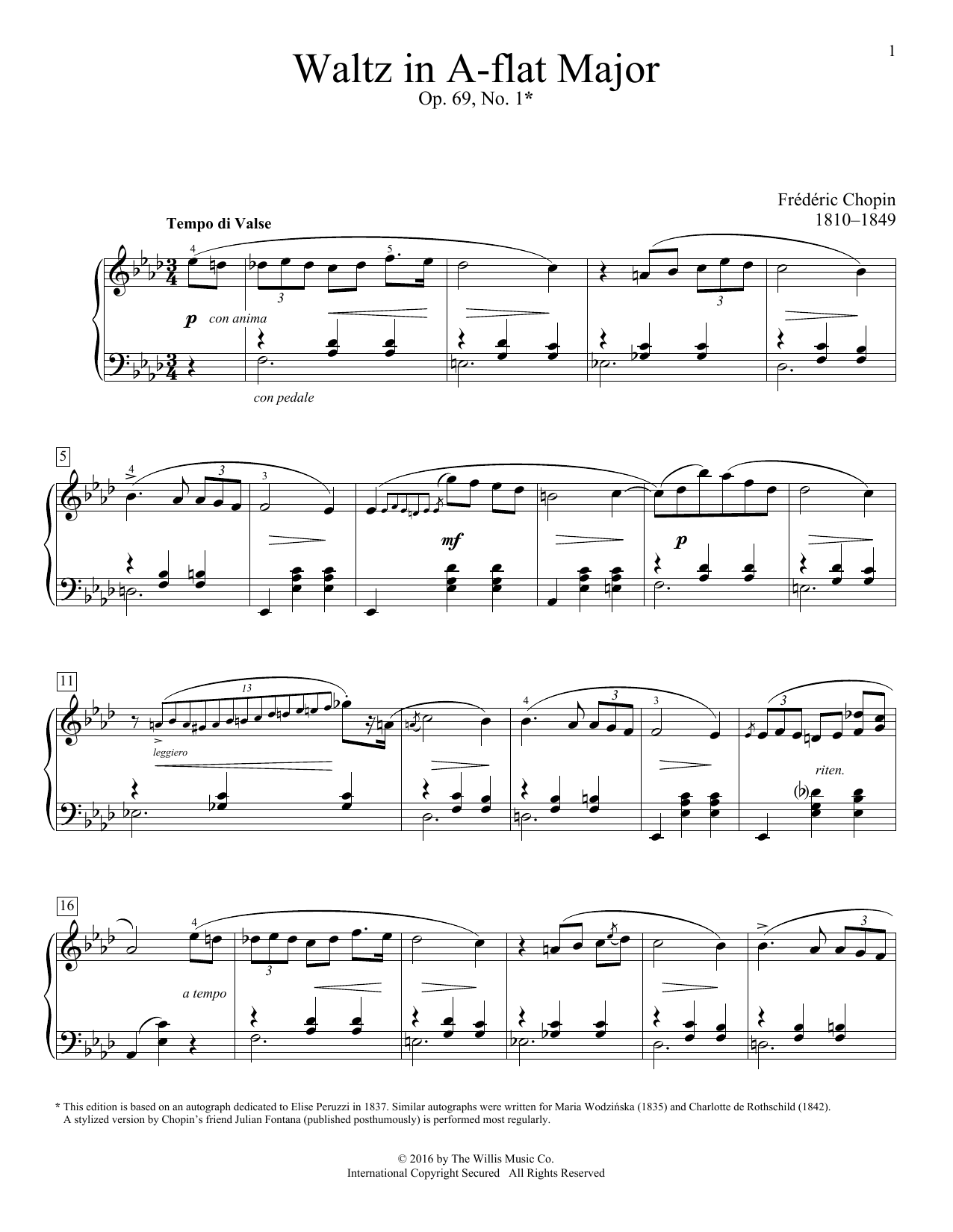 Waltz In A-Flat Major, Op. 69, No. 1 Sheet Music