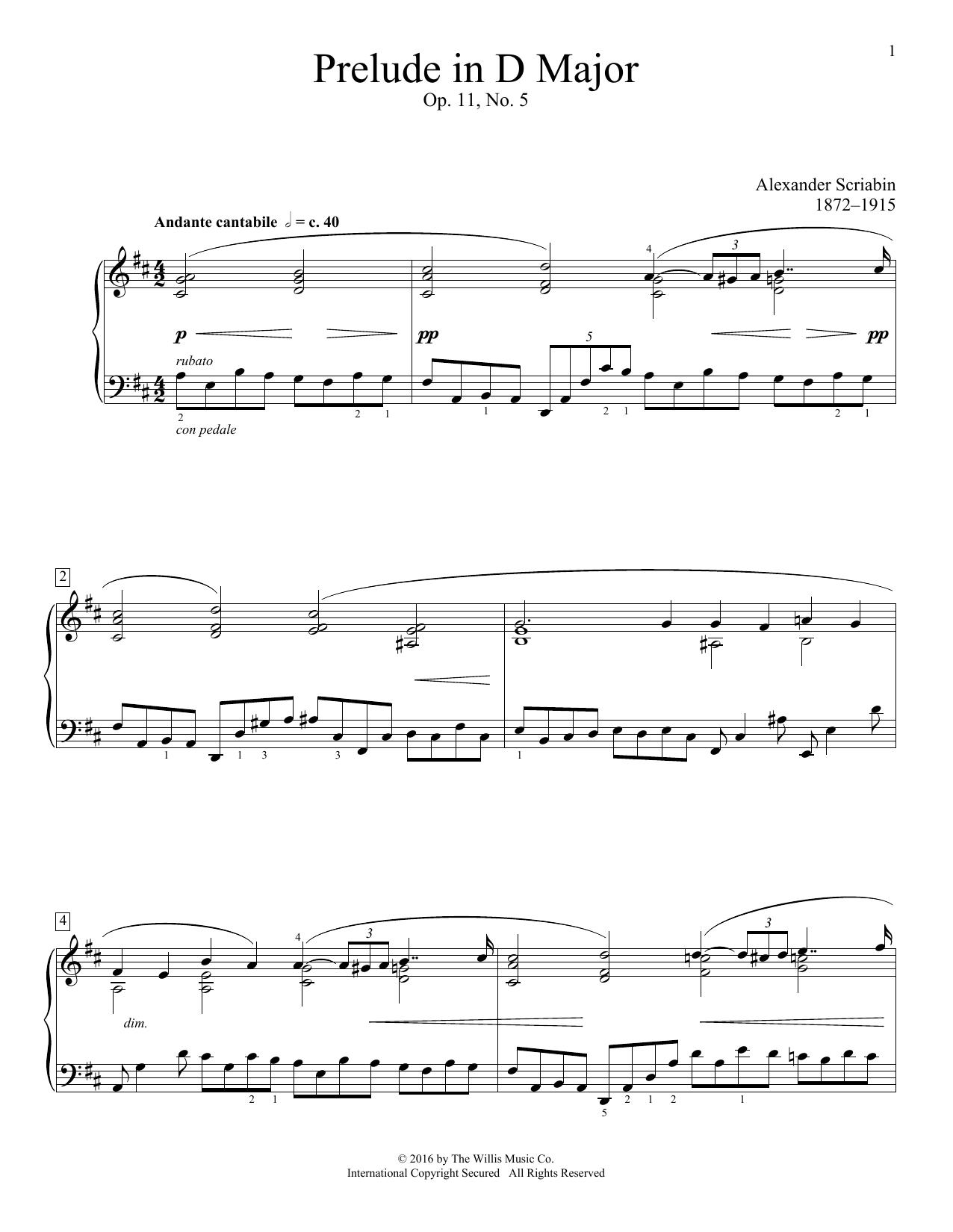 Prelude In D Major, Op. 11, No. 5 Sheet Music