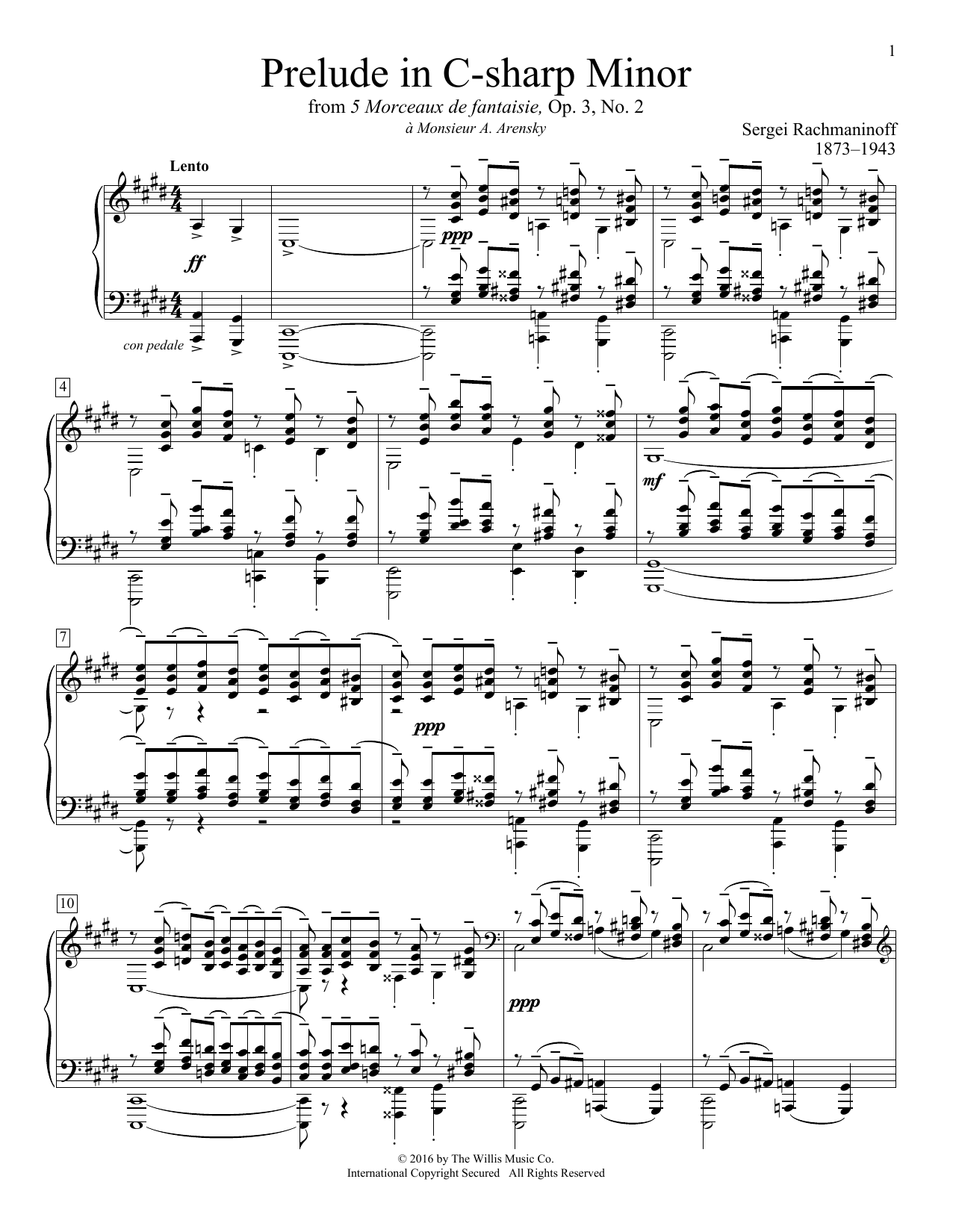 Prelude In C-Sharp Minor Sheet Music