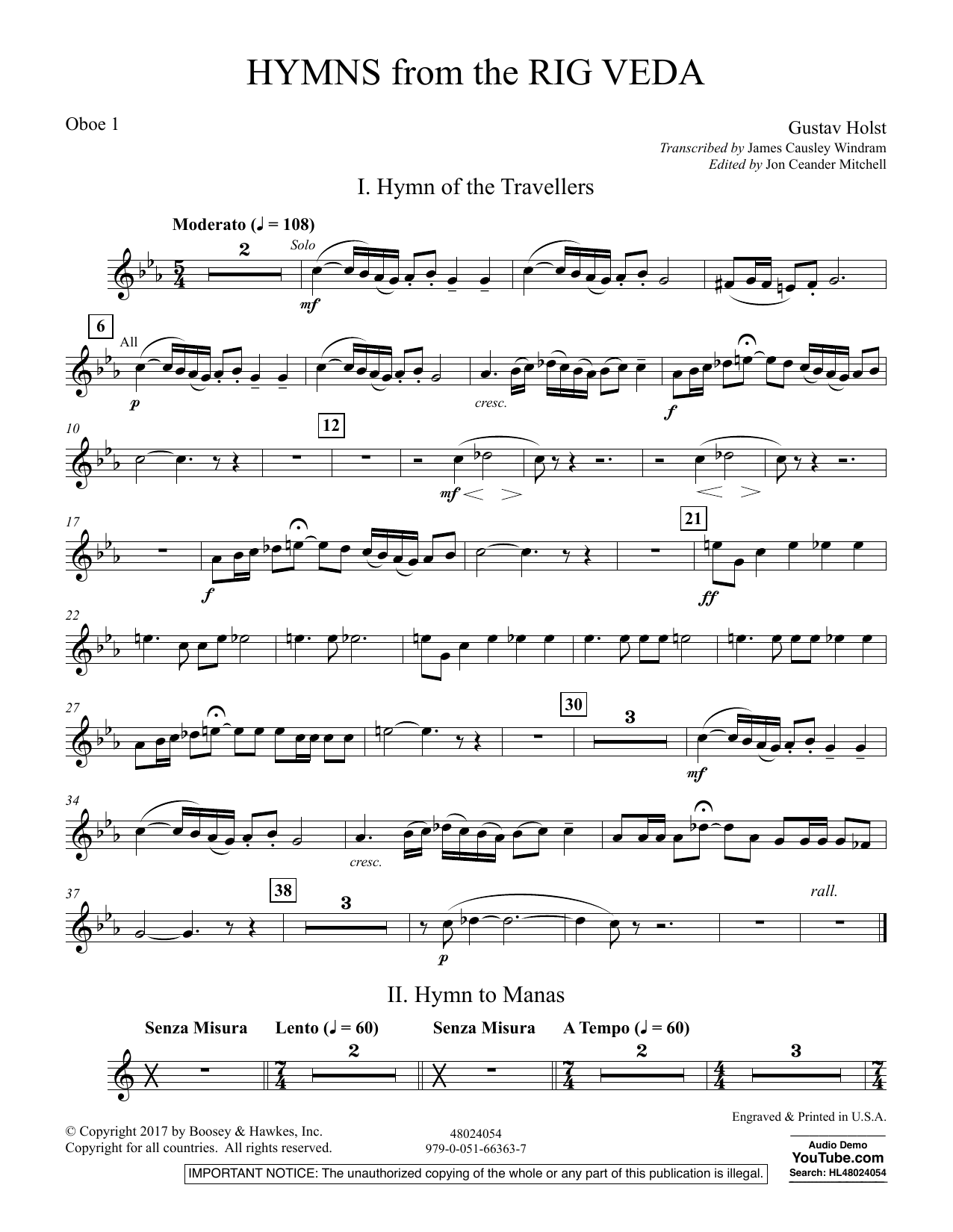 Hymns from the Rig Veda - Oboe 1 (Concert Band)