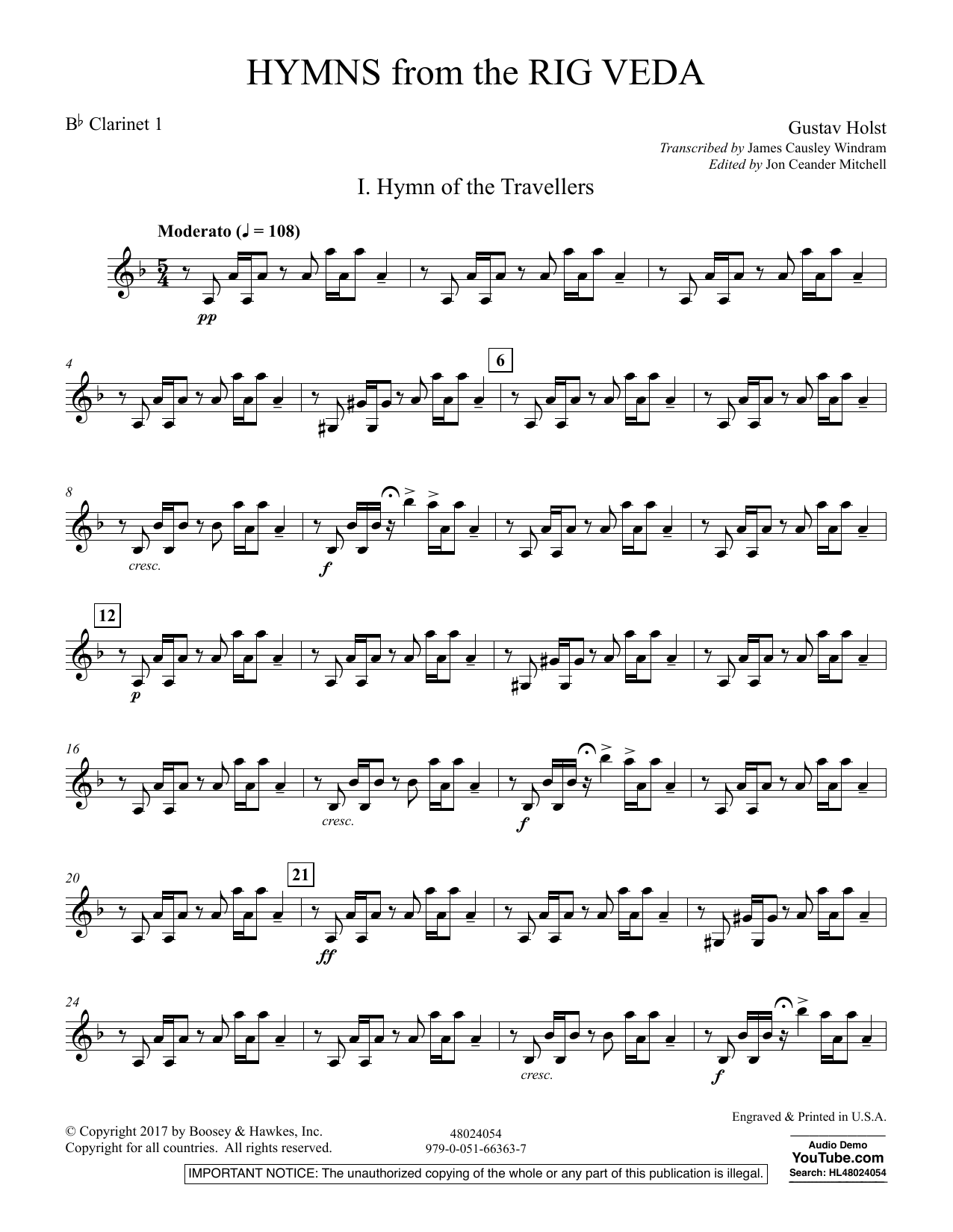 Hymns from the Rig Veda - Bb Clarinet 1 (Concert Band)