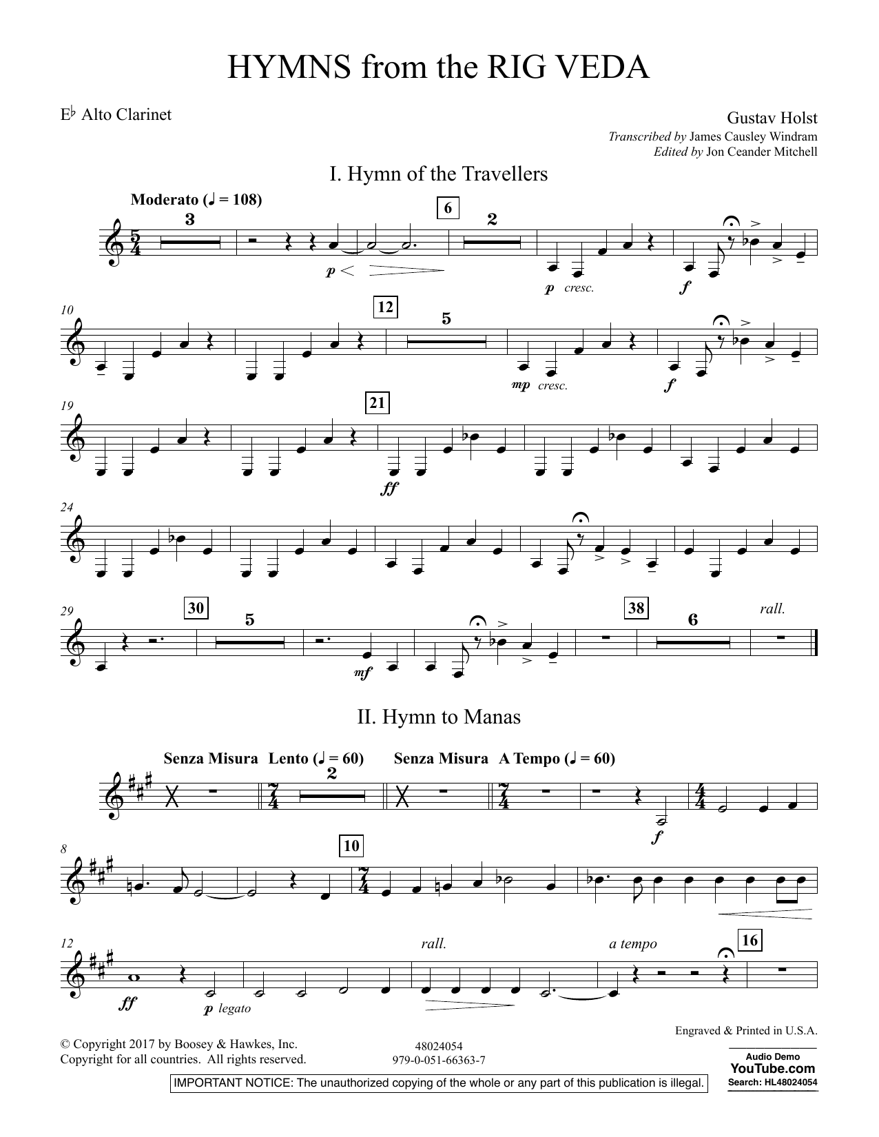Hymns from the Rig Veda - Eb Alto Clarinet (Concert Band)