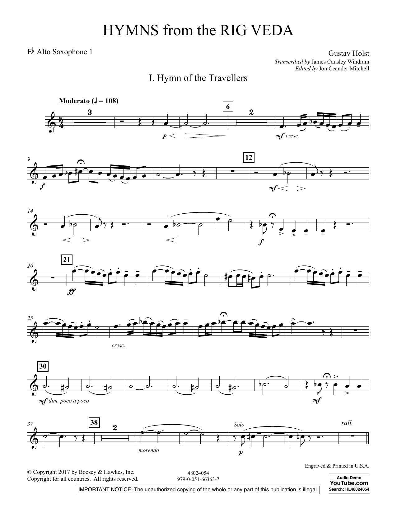 Hymns from the Rig Veda - Eb Alto Saxophone 1 (Concert Band)