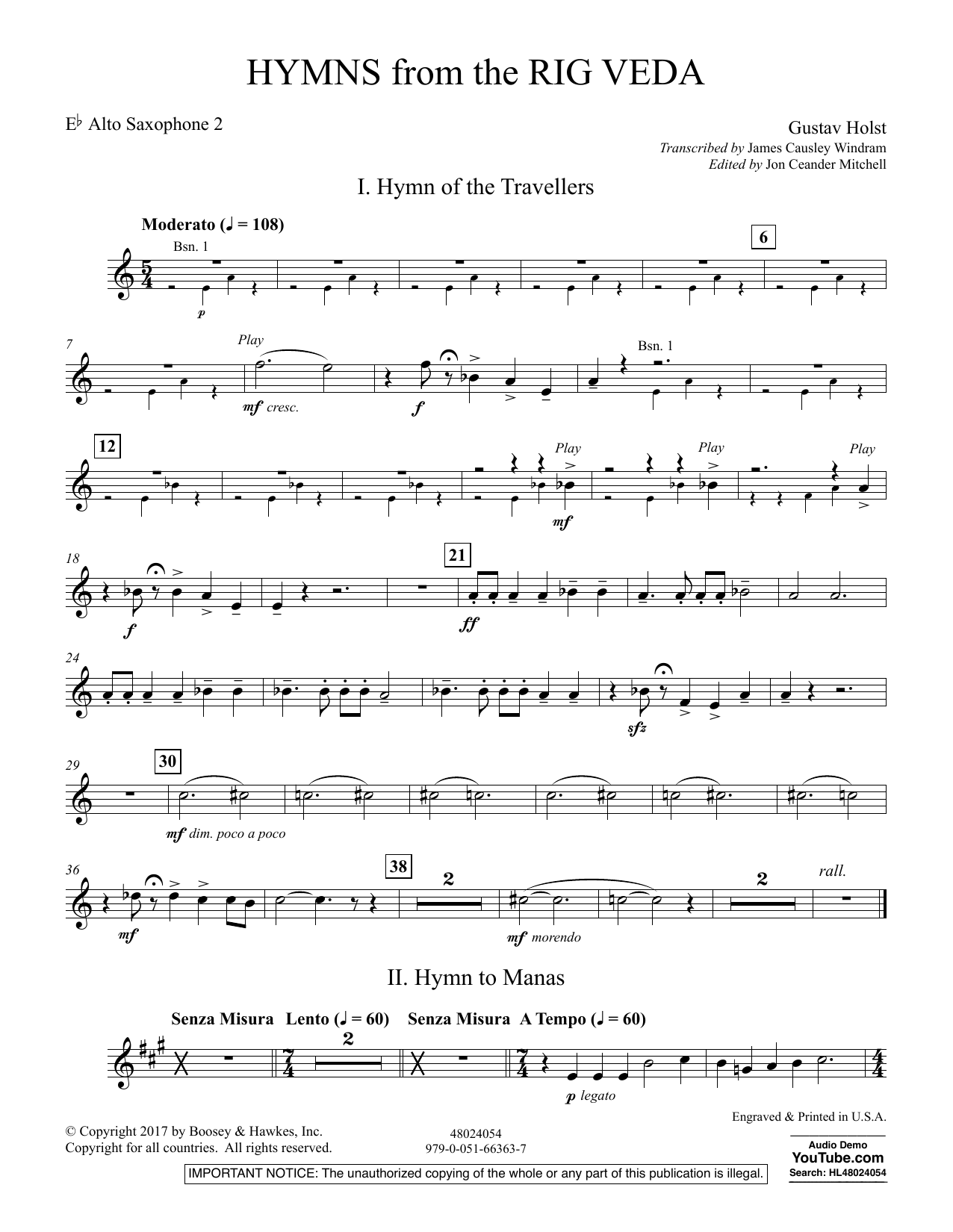 Hymns from the Rig Veda - Eb Alto Saxophone 2 (Concert Band)