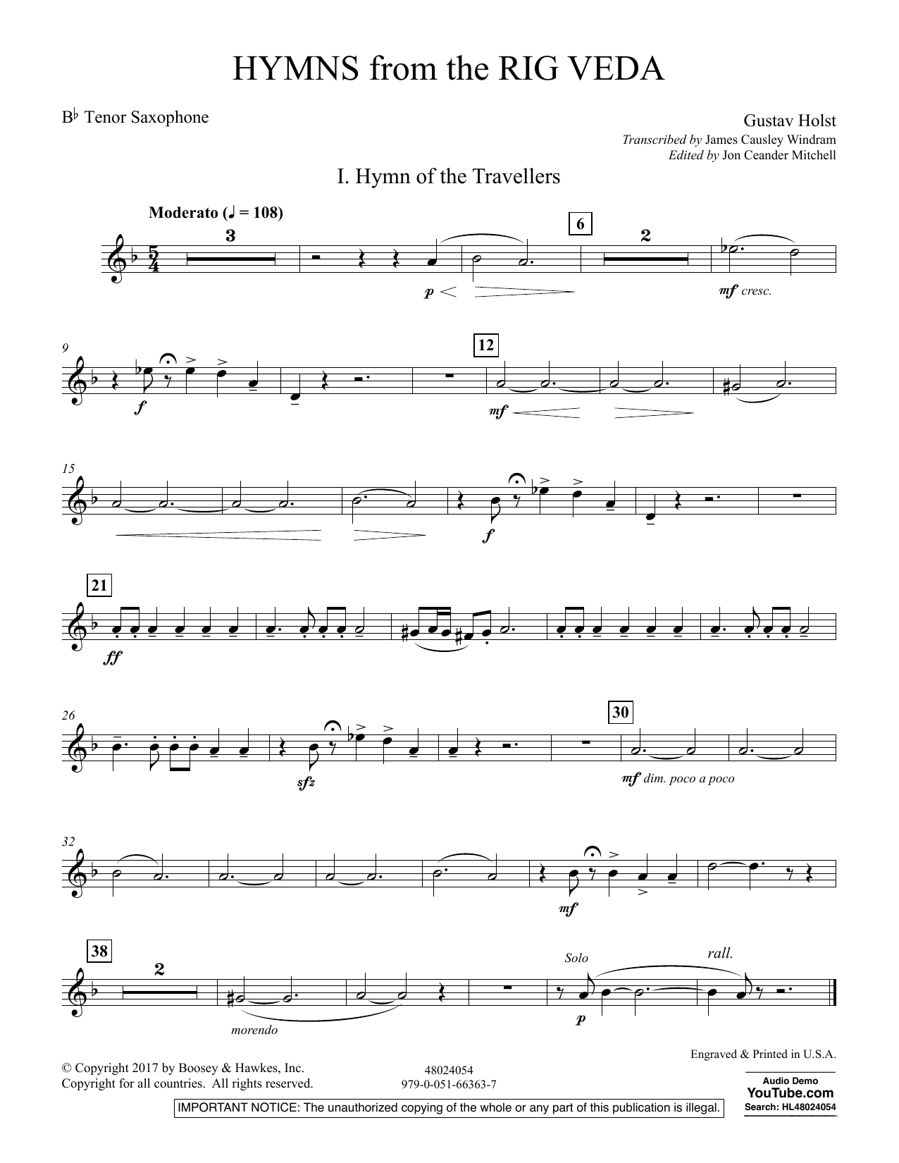 Hymns from the Rig Veda - Bb Tenor Saxophone (Concert Band)