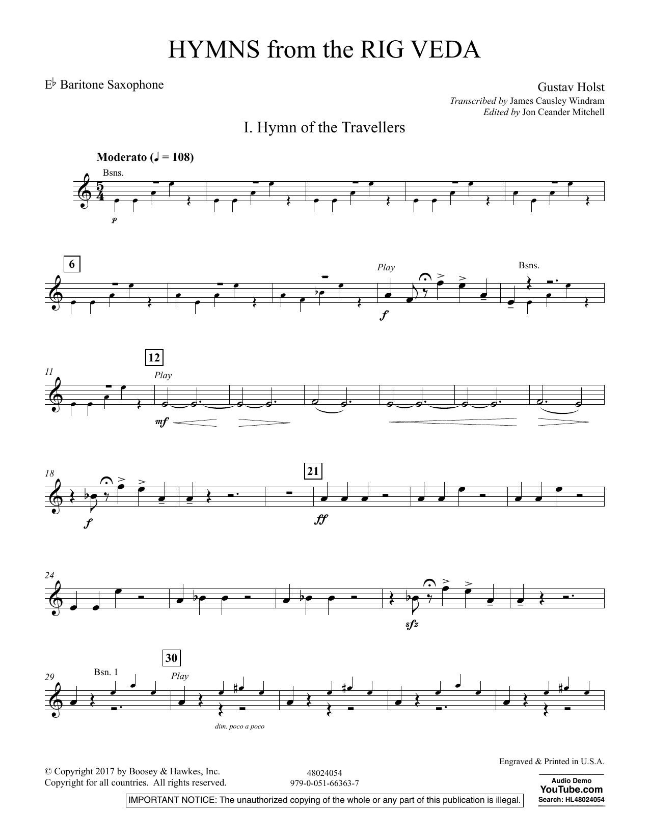 Hymns from the Rig Veda - Eb Baritone Saxophone (Concert Band)
