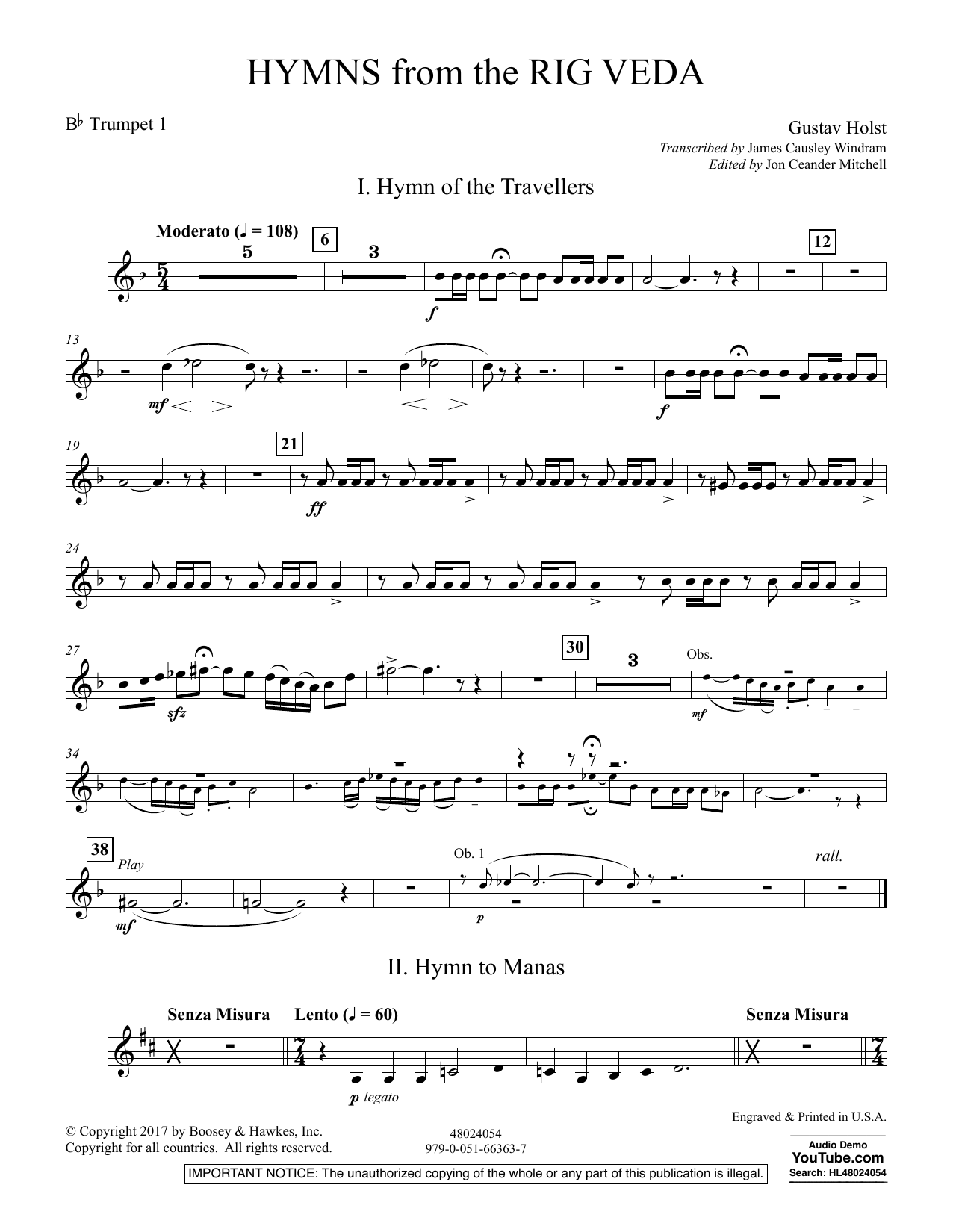 Hymns from the Rig Veda - Bb Trumpet 1 (Concert Band)