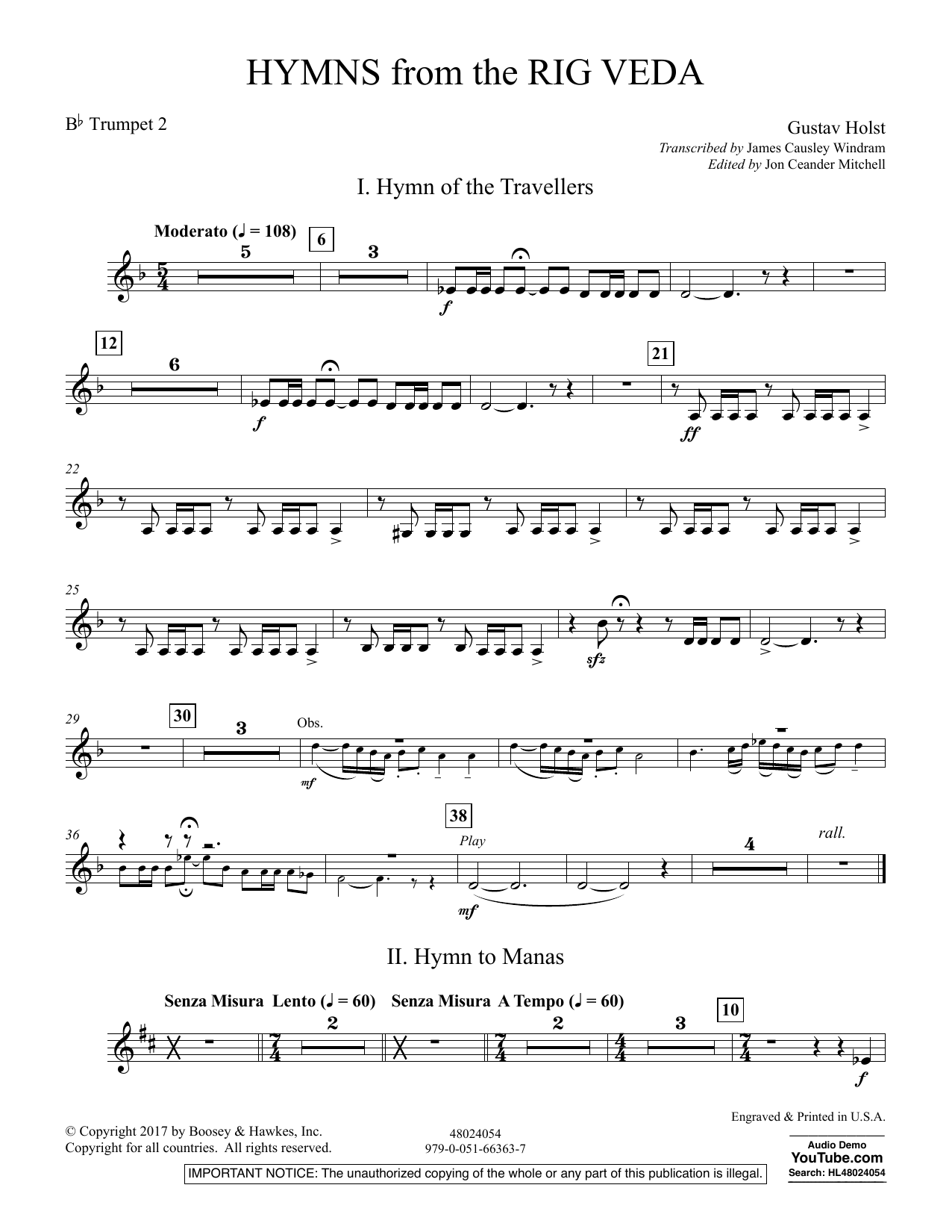 Hymns from the Rig Veda - Bb Trumpet 2 (Concert Band)