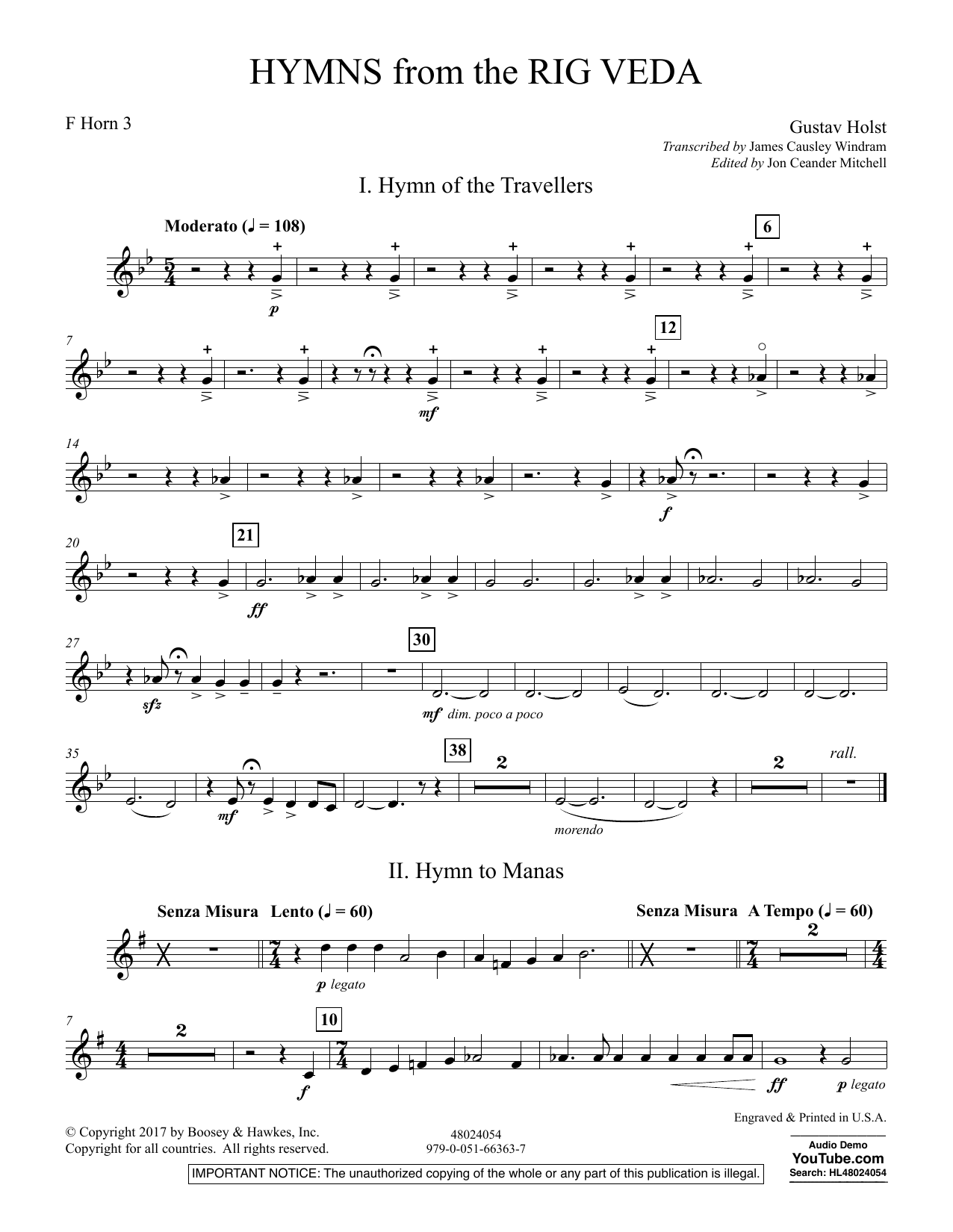 Hymns from the Rig Veda - Horn 3 in F (Concert Band)