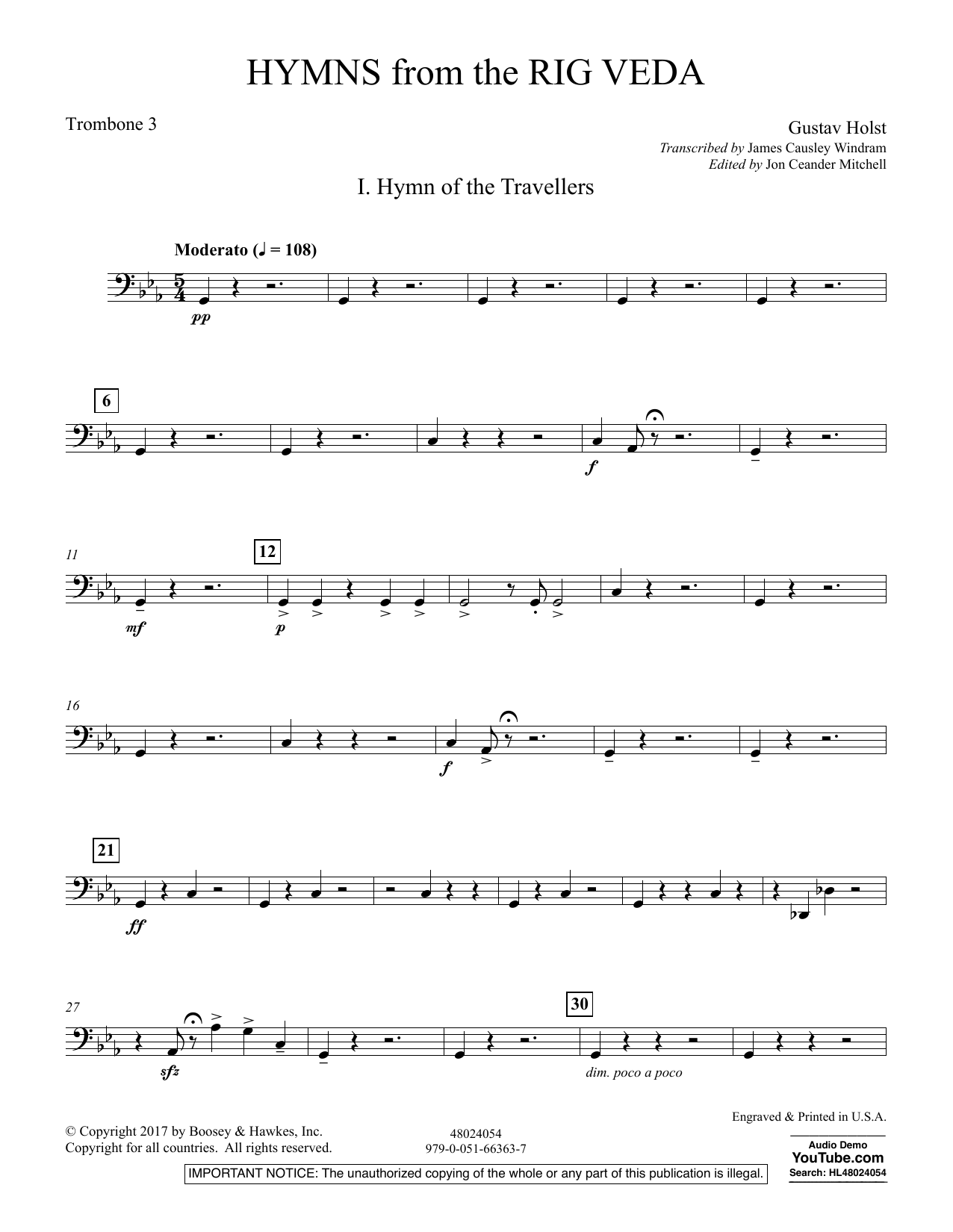 Hymns from the Rig Veda - Trombone 3 (Concert Band)