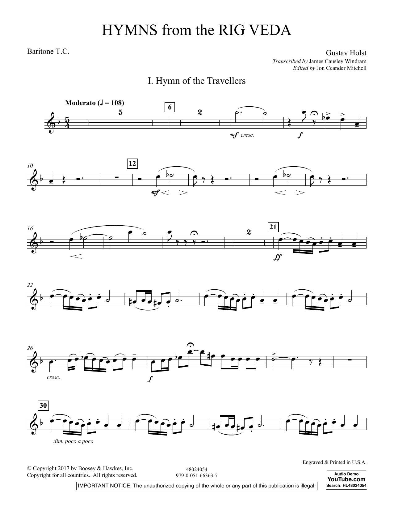 Hymns from the Rig Veda - Baritone T.C. (Concert Band)
