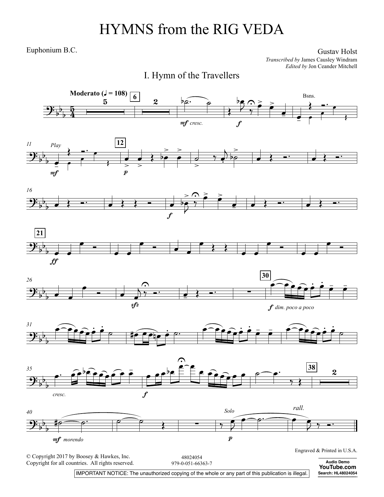 Hymns from the Rig Veda - Euphonium B.C. (Concert Band)