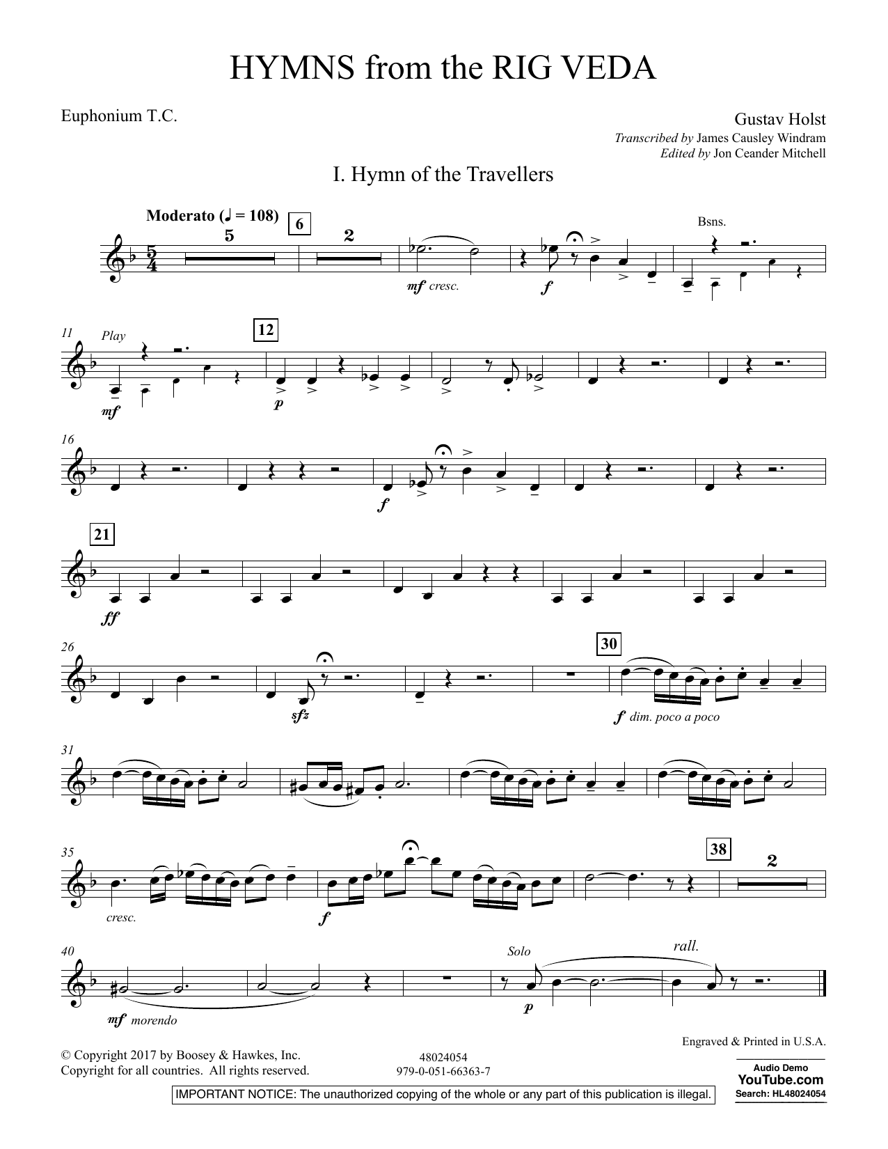 Hymns from the Rig Veda - Euphonium T.C. (Concert Band)