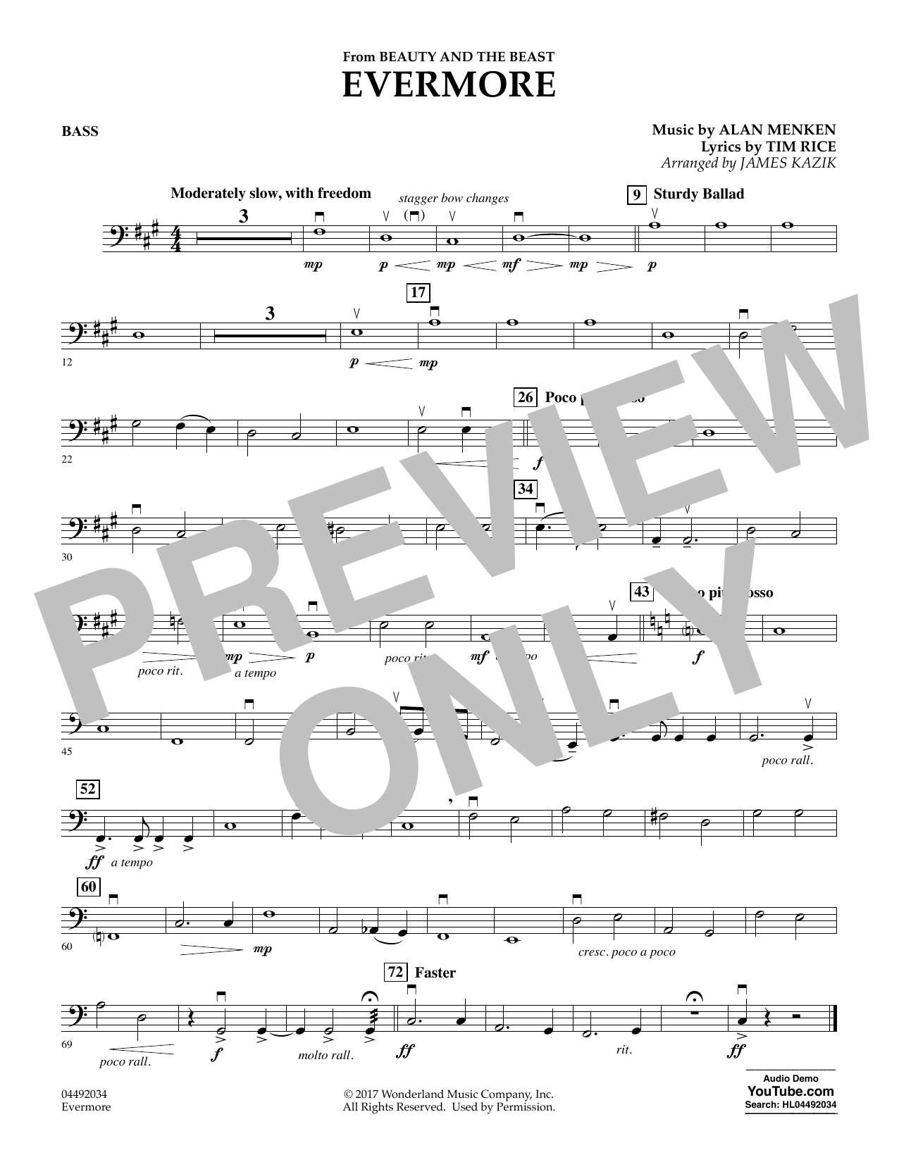 Evermore From Beauty And The Beast Bass By James Kazik Orchestra Digital Sheet Music