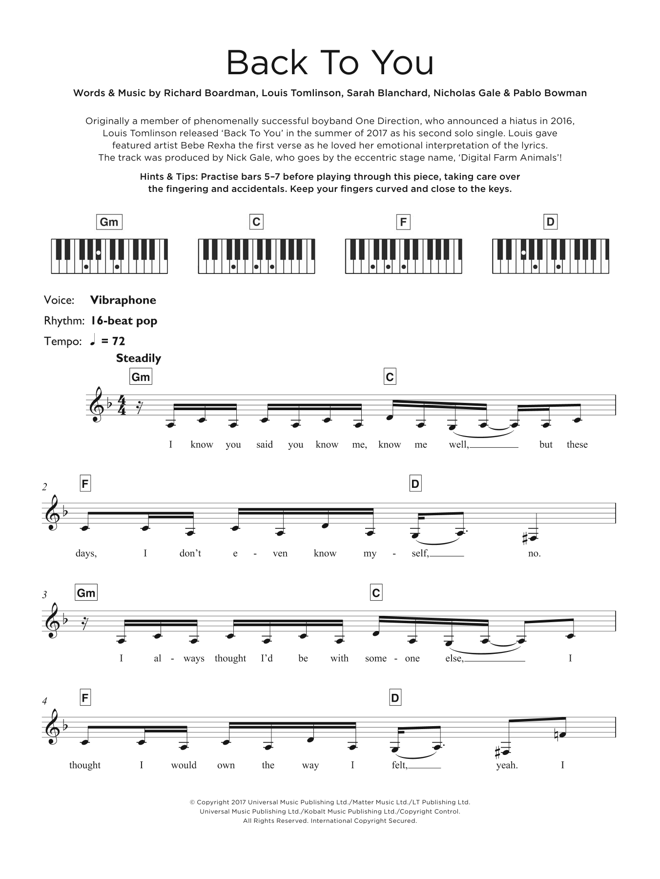 Back To You (featuring Bebe Rexha and Digital Farm Animals) Sheet Music