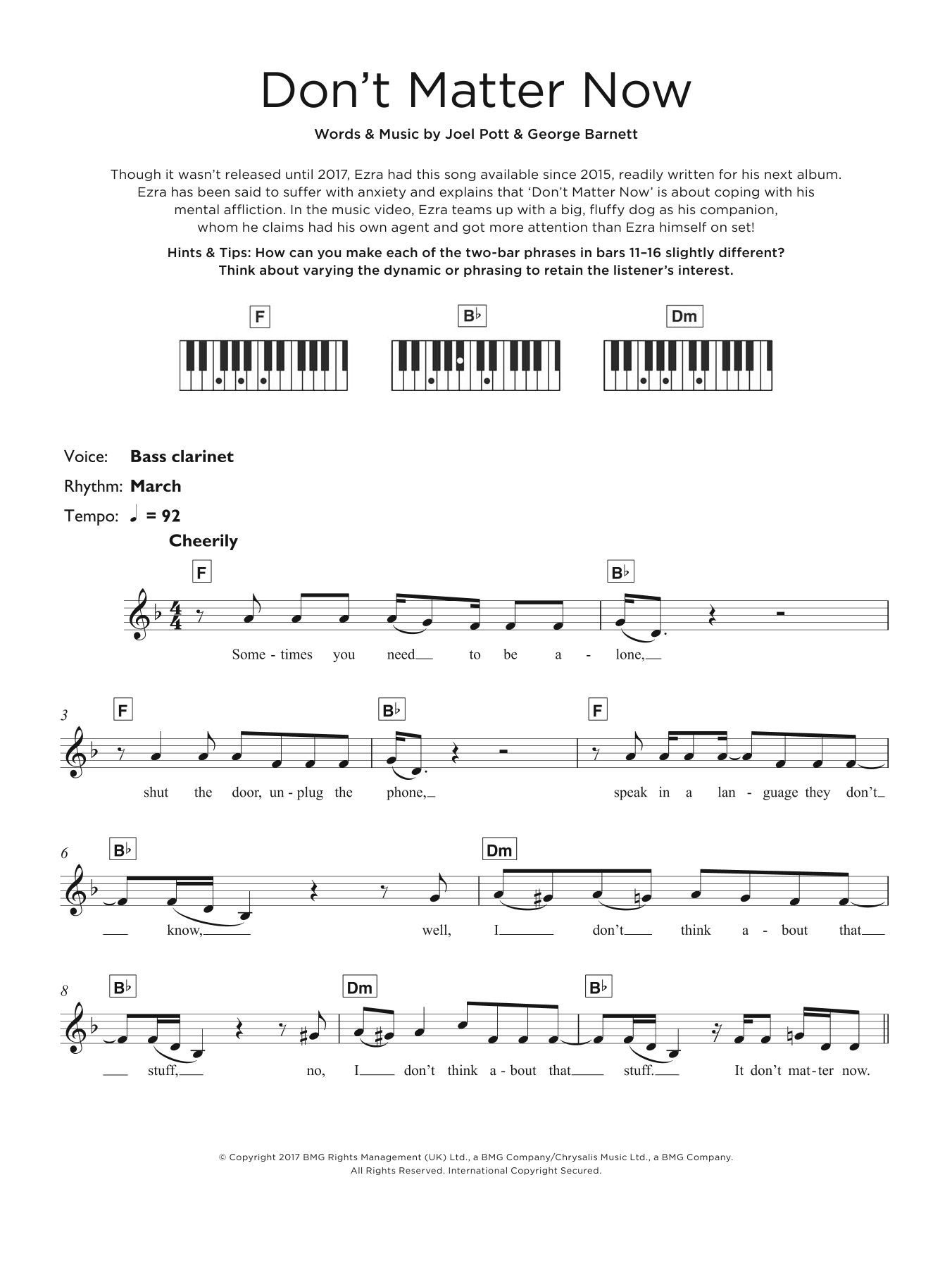 Don't Matter Now Sheet Music