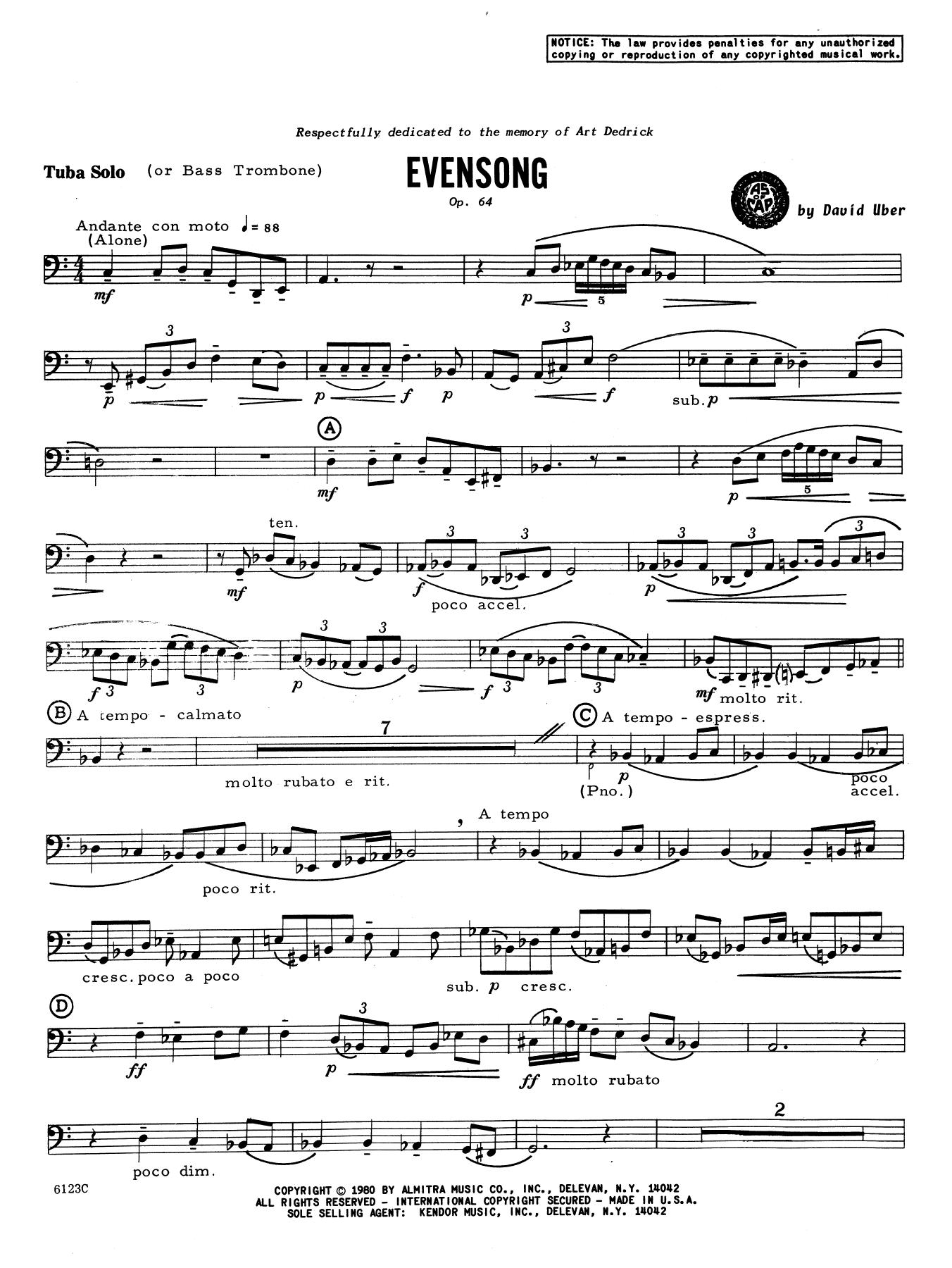 Evensong - Tuba Sheet Music