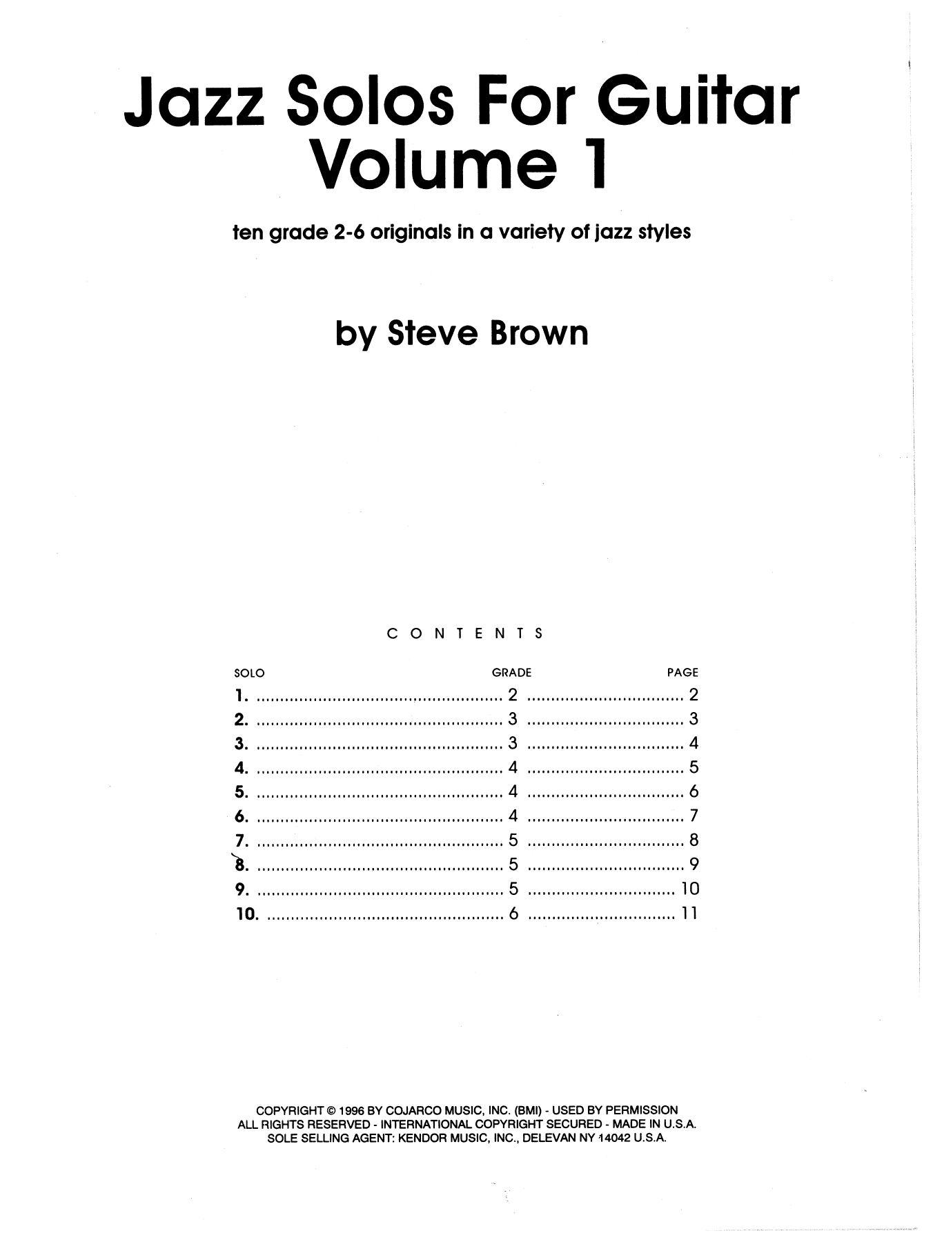 Jazz Solos For Guitar, Volume 1 Sheet Music